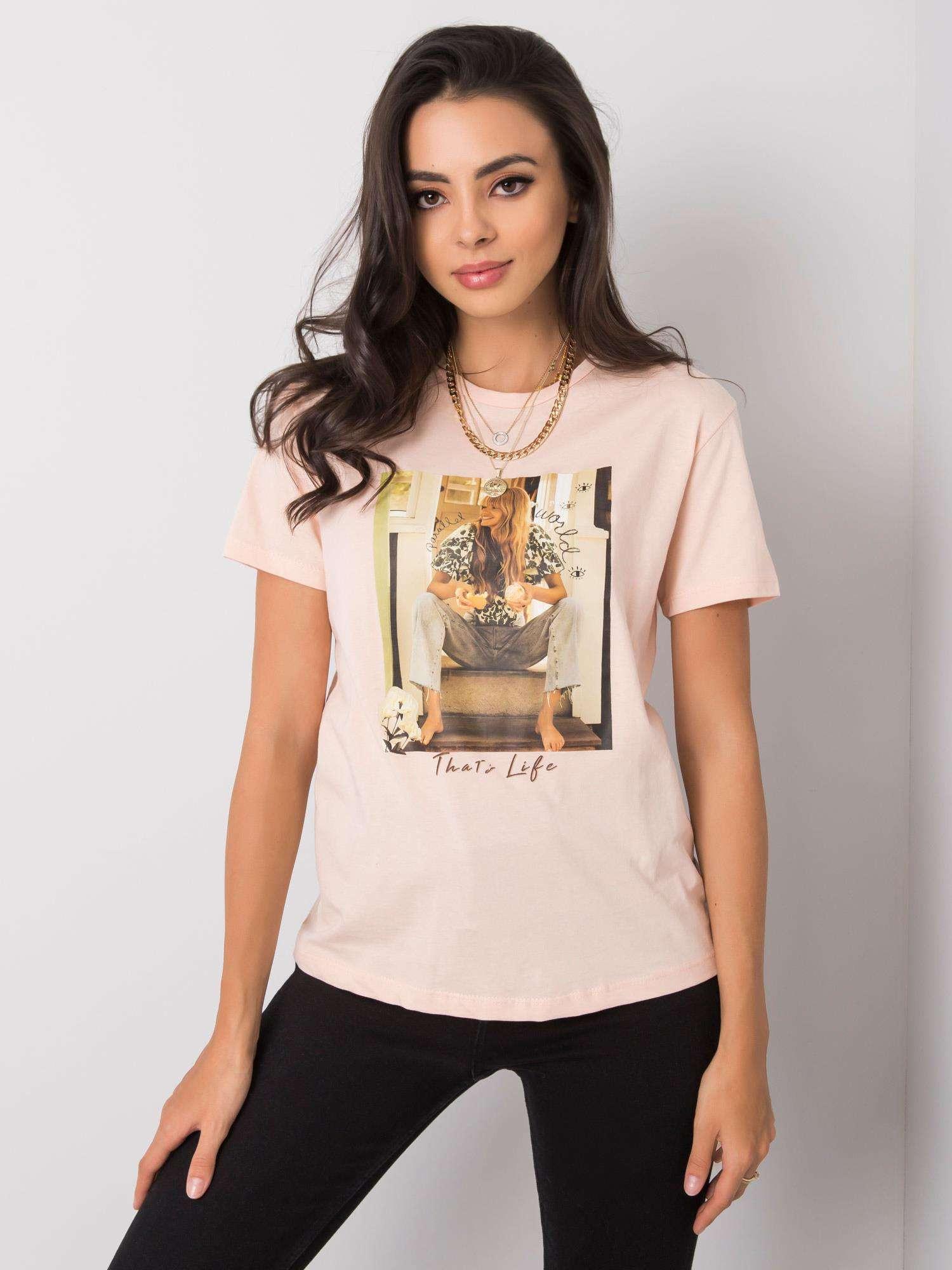 Dámske lososové tričko s potlačou M