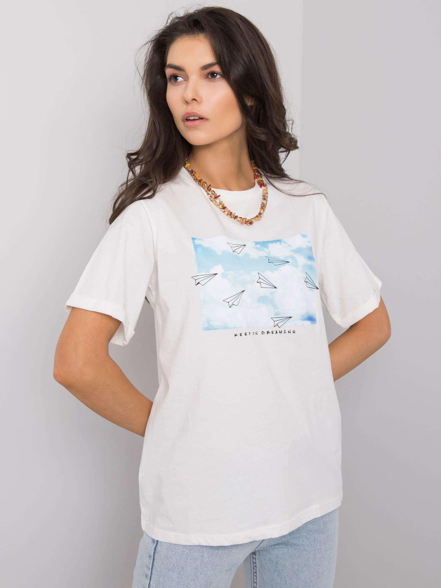 Dámske biele tričko s potlačou M