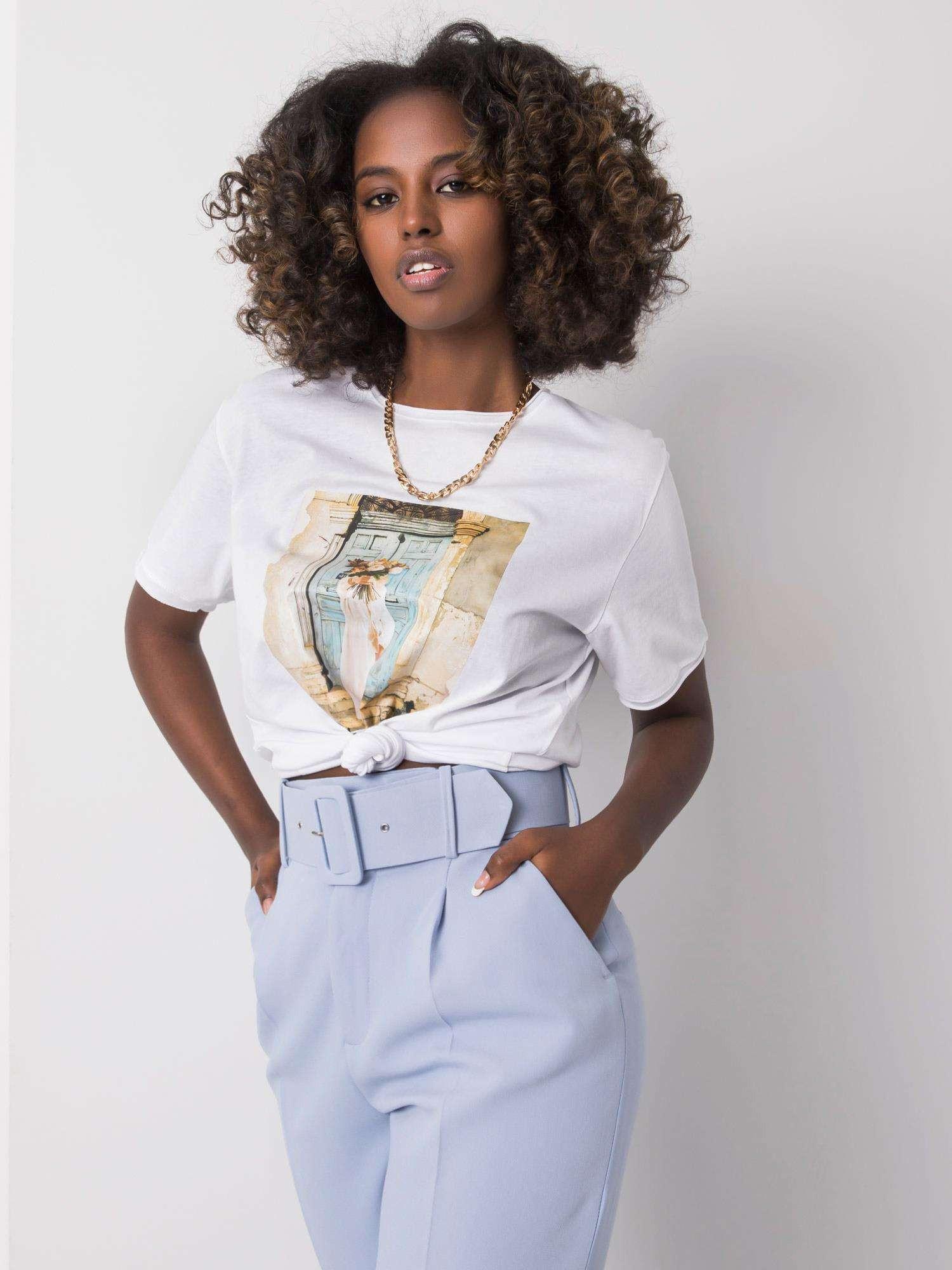 Biele dámske tričko s potlačou M