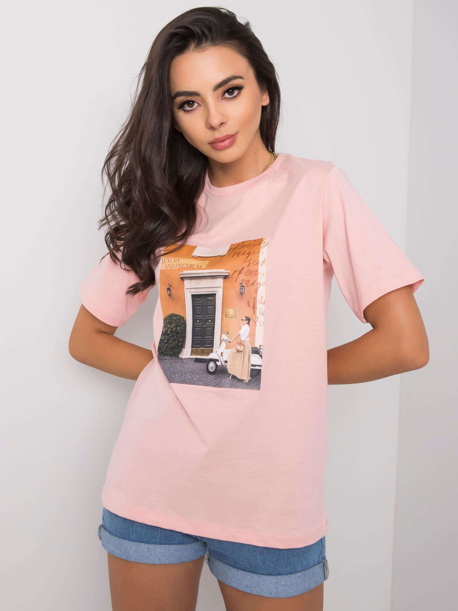 Práškovo ružové tričko s módnym potlačou S