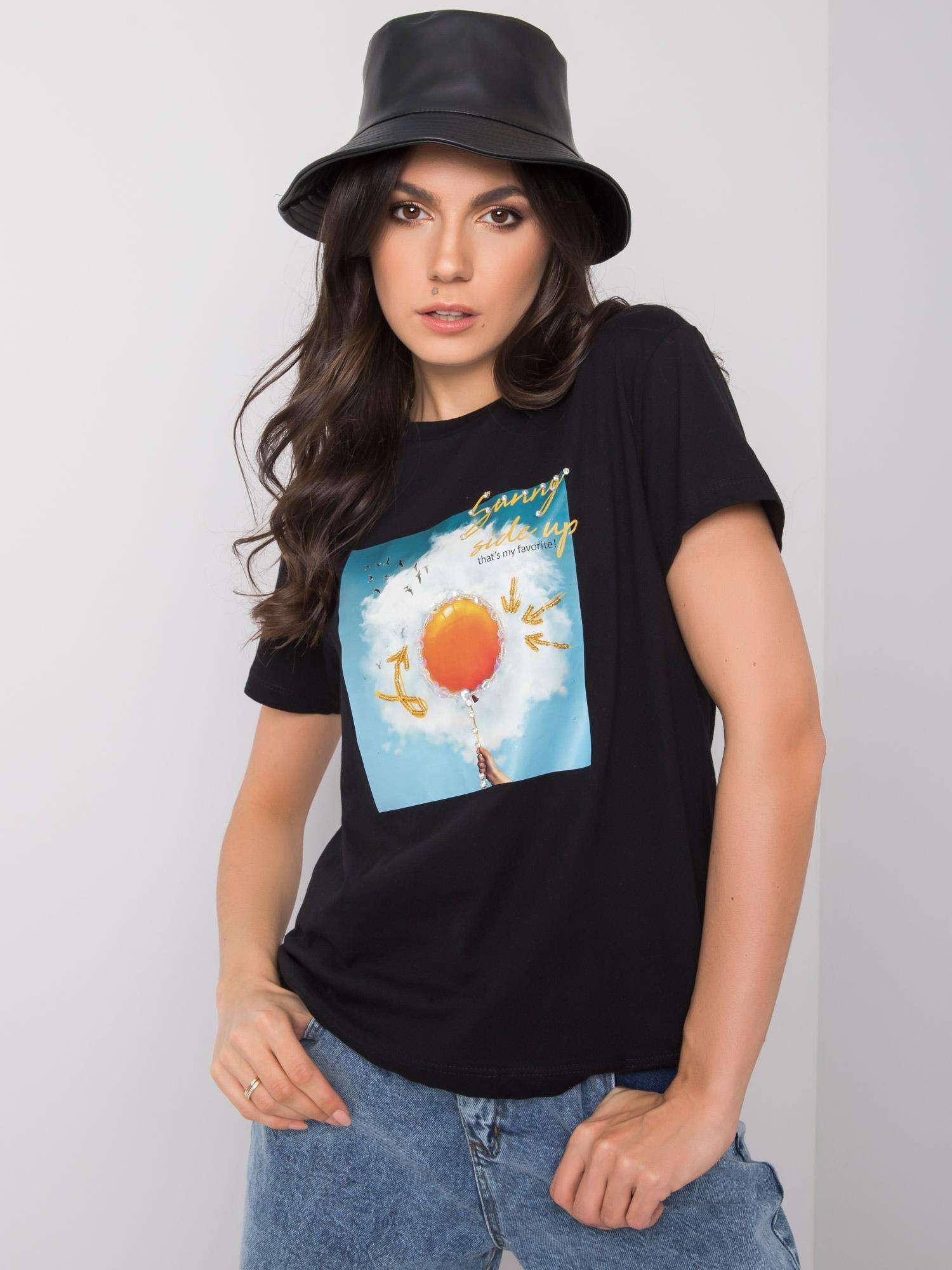 Čierne dámske bavlnené tričko L