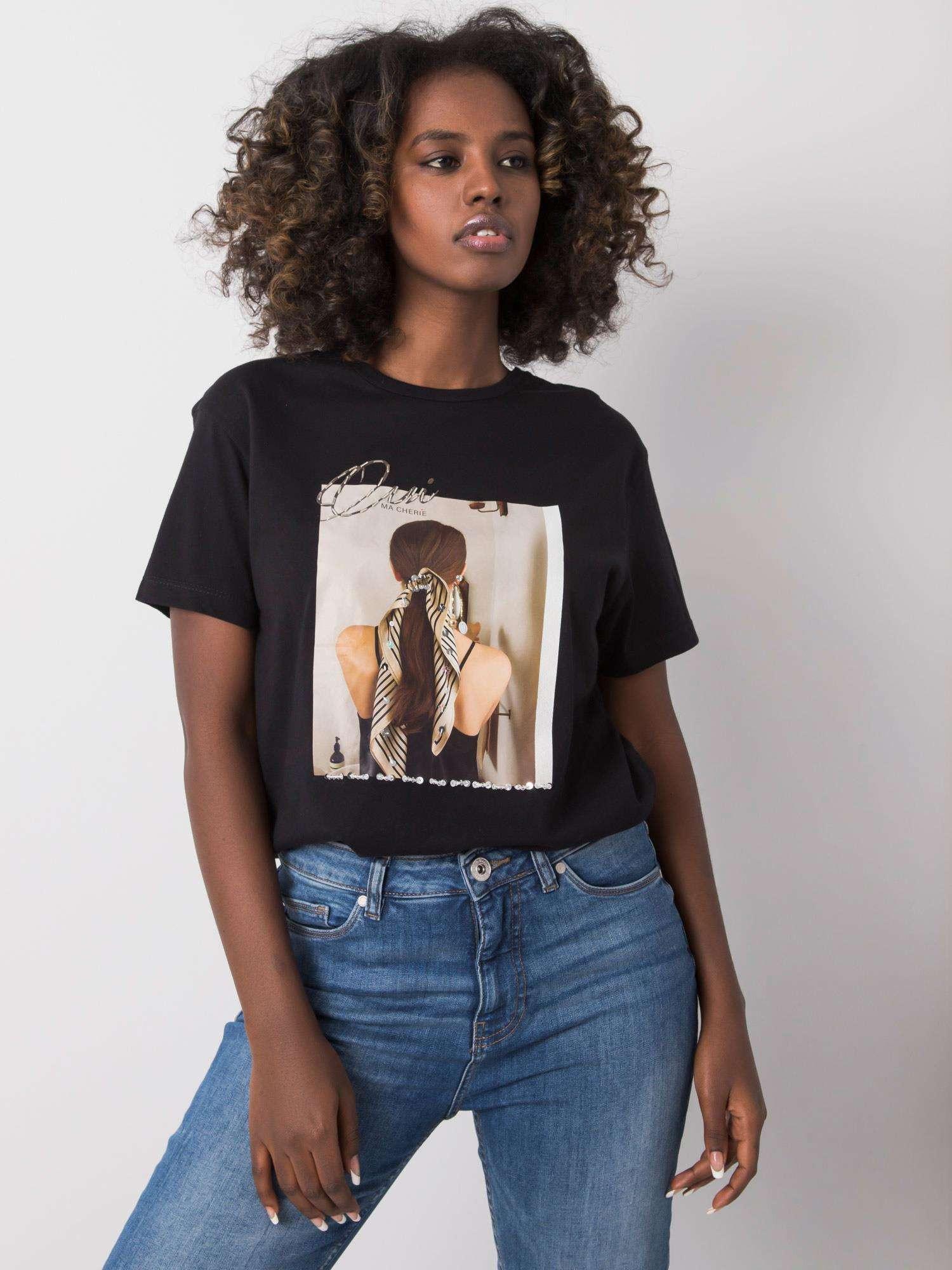 Čierne tričko s potlačou S