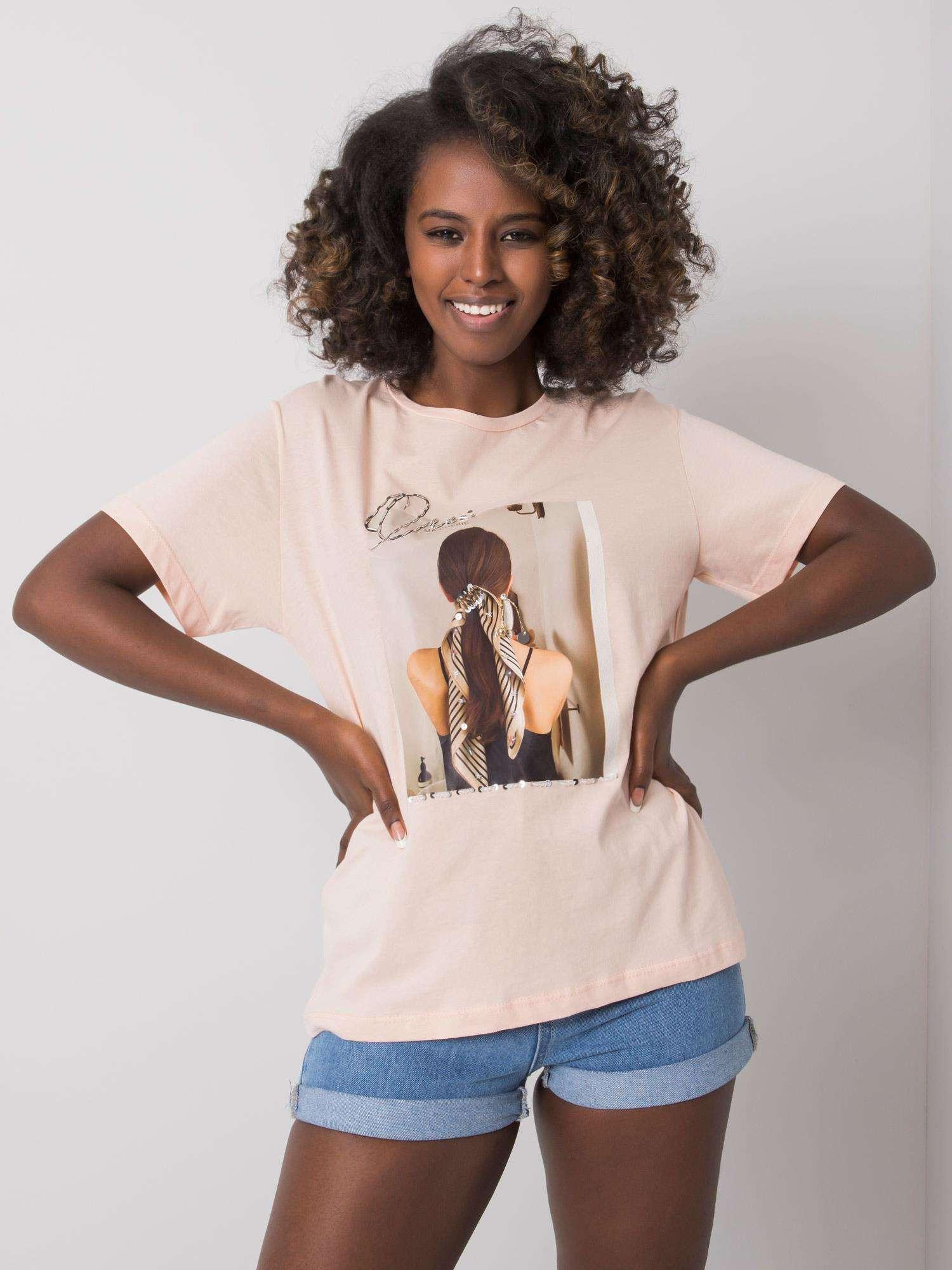 Lososové tričko s potlačou S