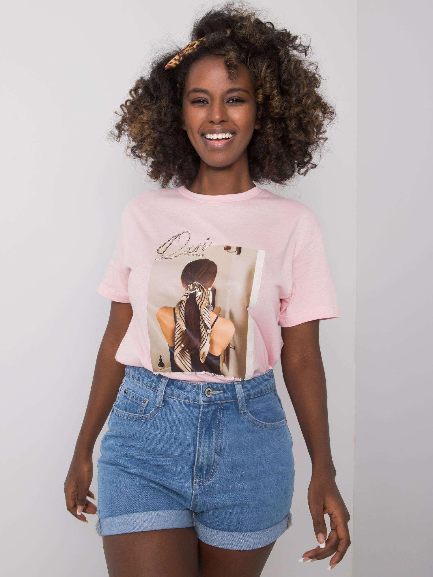 Ružové tričko s potlačou S