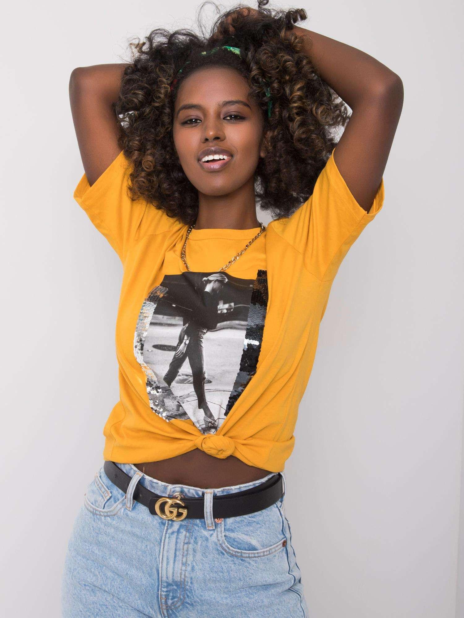 Horčičné dámske tričko s potlačou M