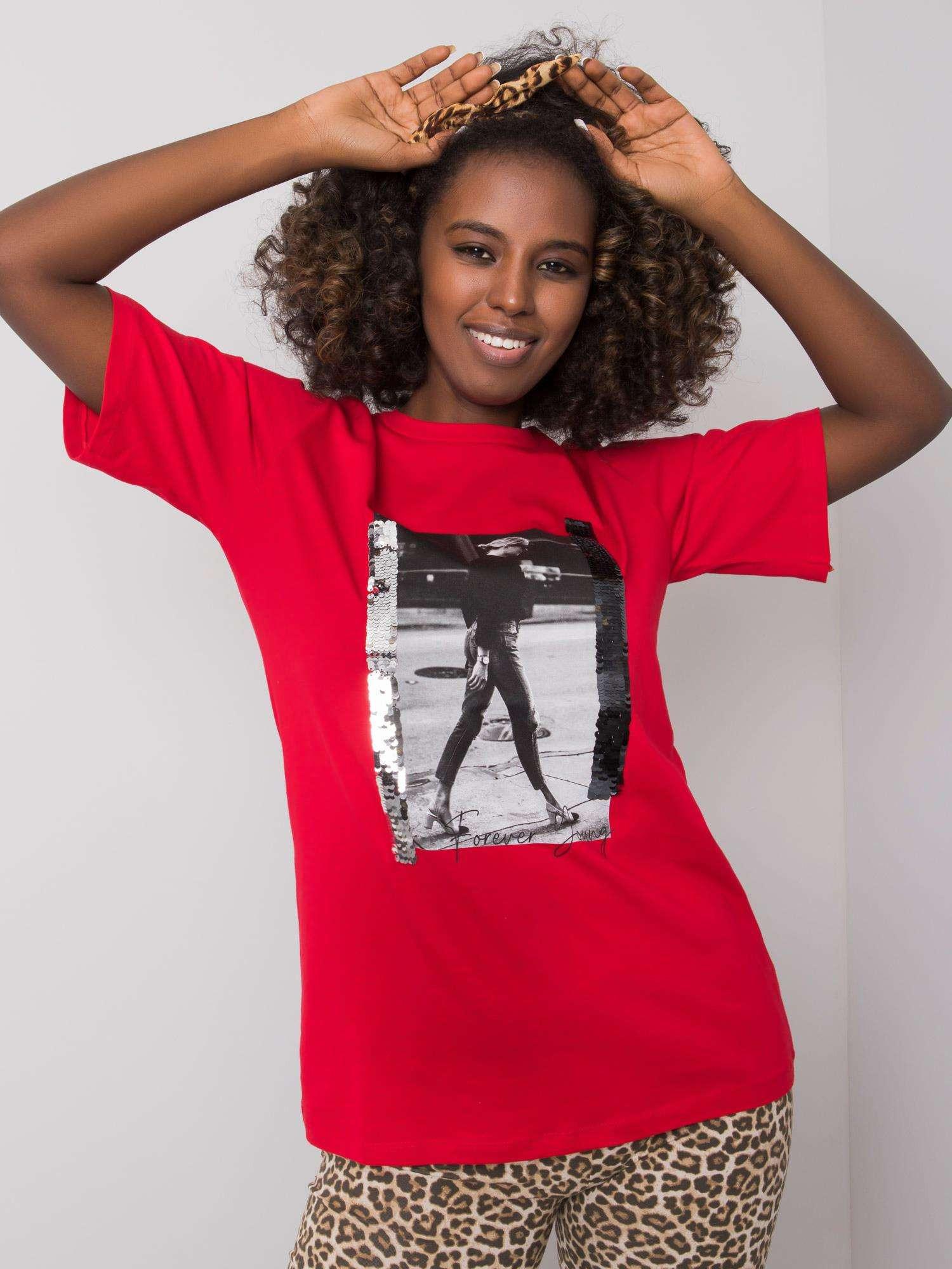 Červené dámske tričko s potlačou M