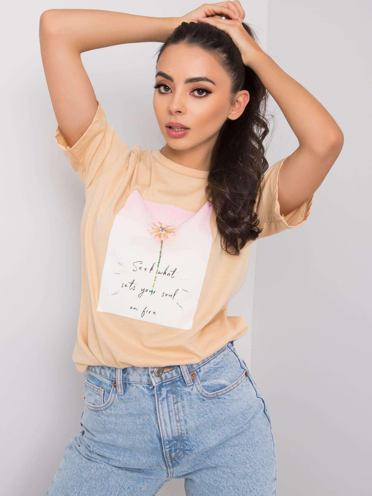 Béžové dámske tričko s potlačou M