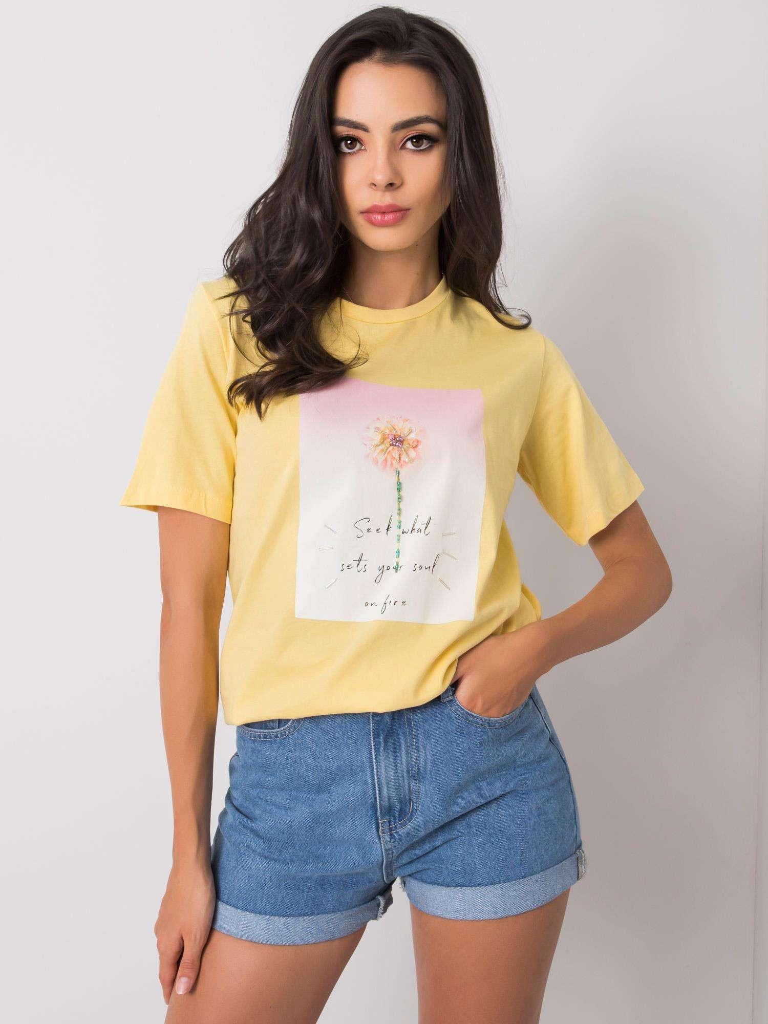 Žlté dámske tričko s potlačou M