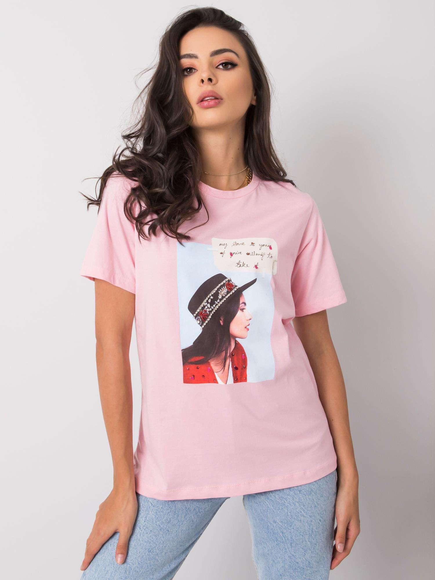 Ružové dámske tričko s potlačou M