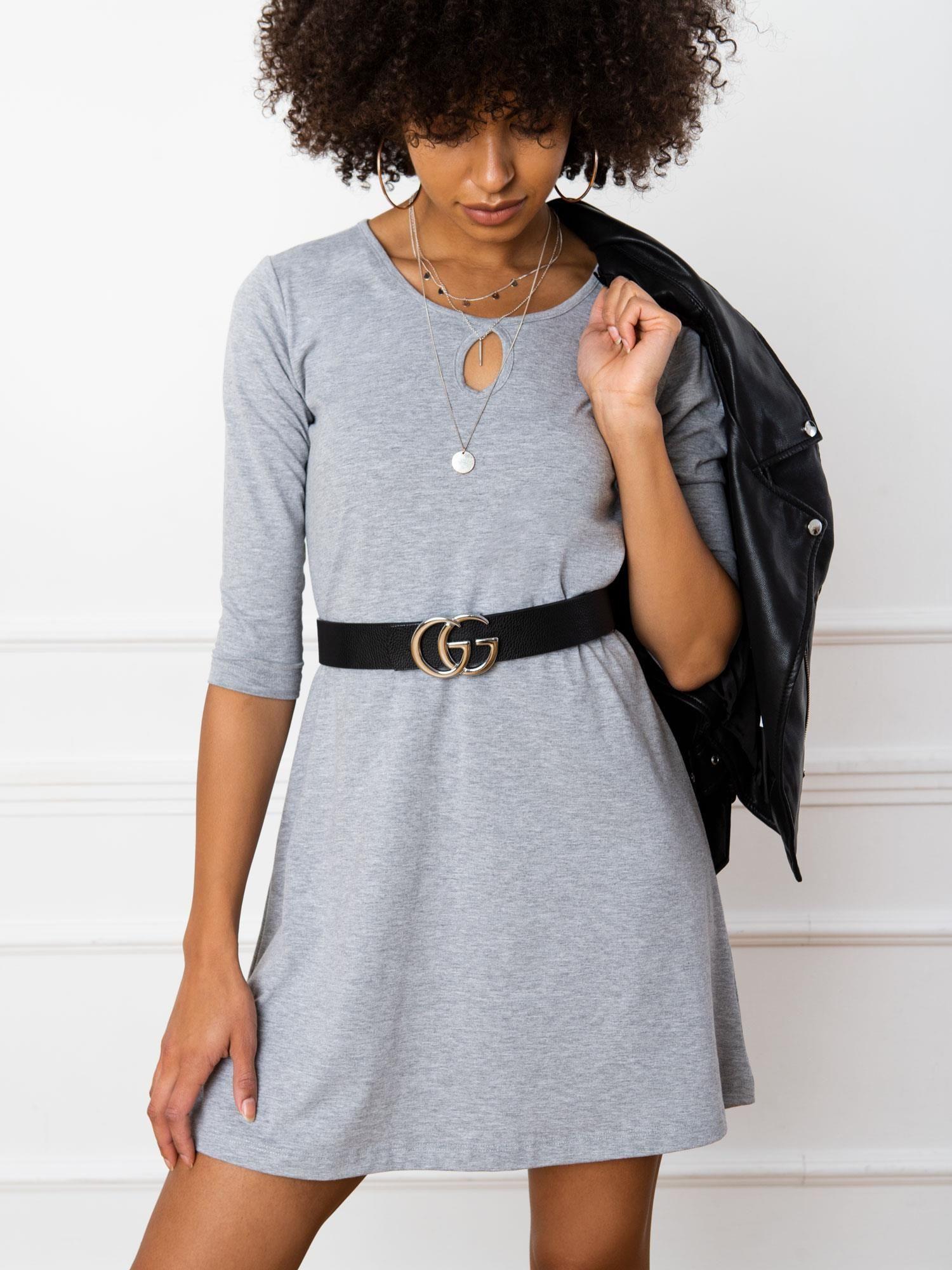 Šedé bavlnené šaty L