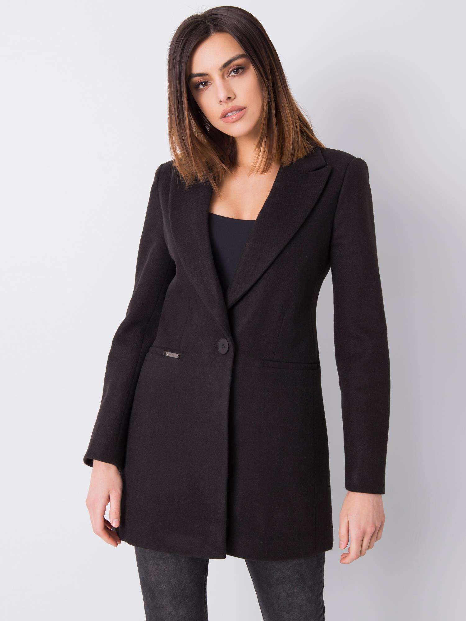 Čierny klasický dámsky kabát S