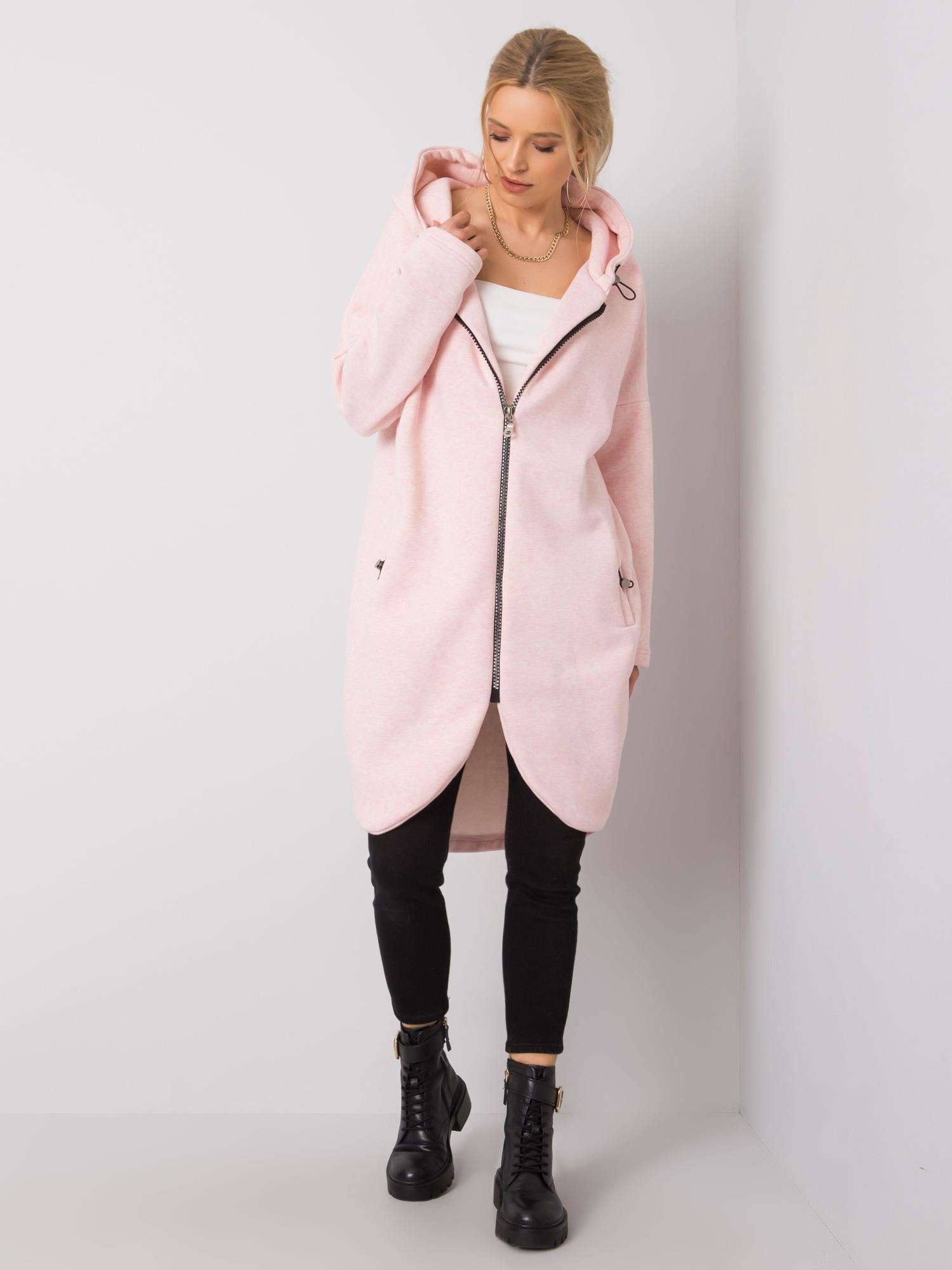 RUE PARIS Růžová dlouhá mikina s kapucí S/M