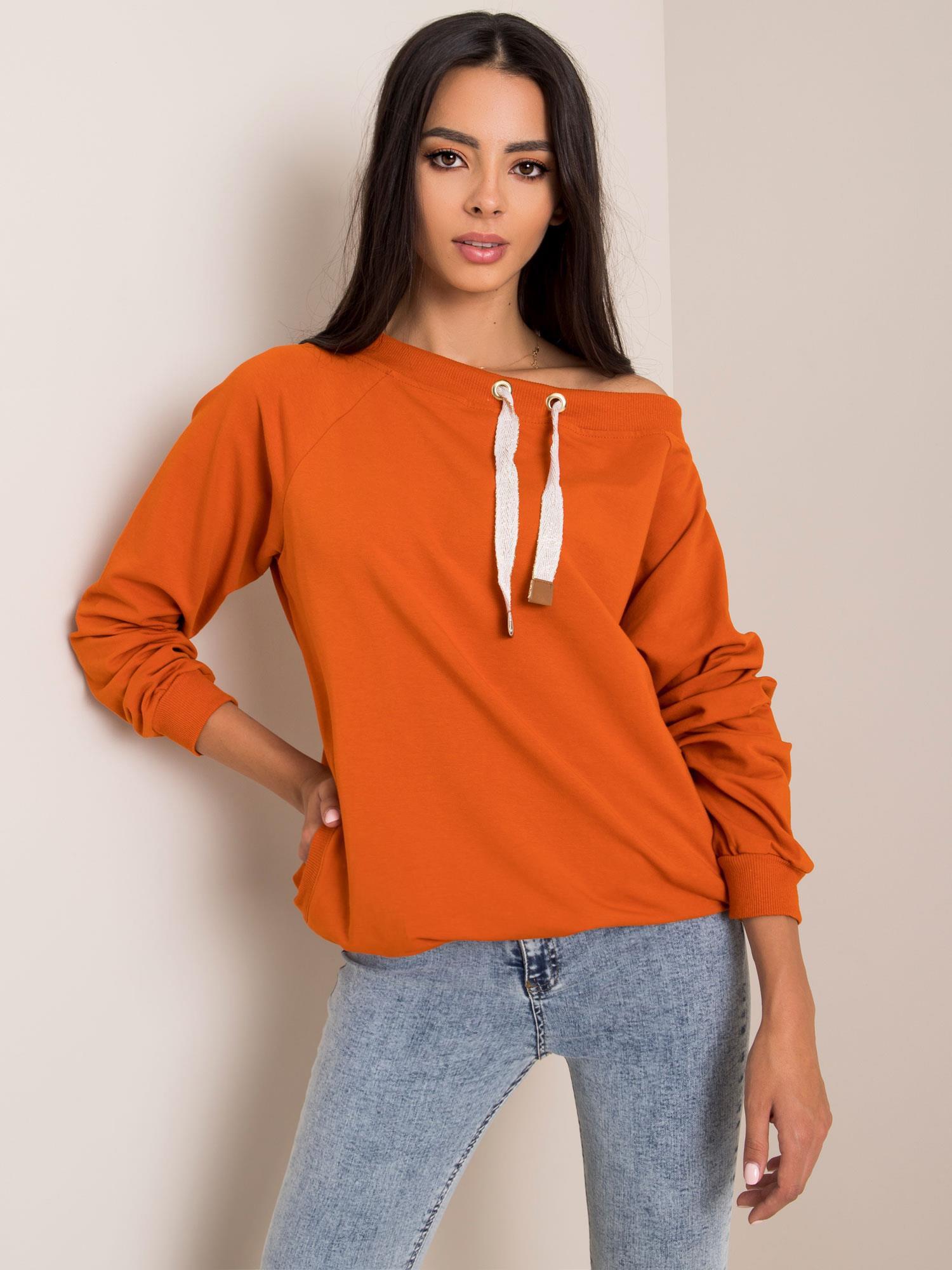 Dámska tmavo oranžová mikina RUE PARIS L/XL