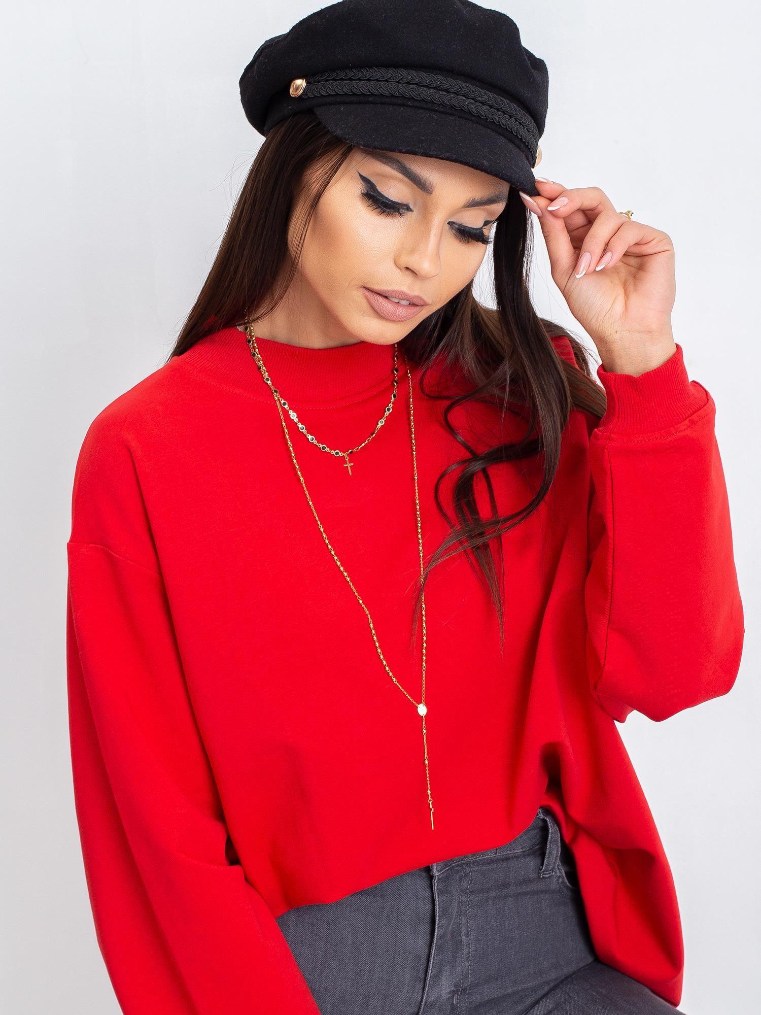 Základná červená bavlnená mikina L/XL
