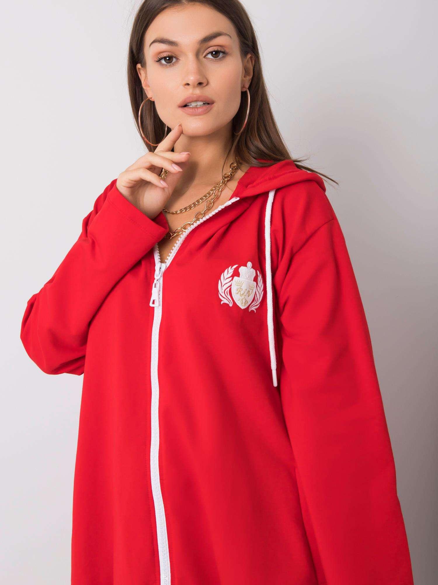 Červená bavlnená mikina S / M