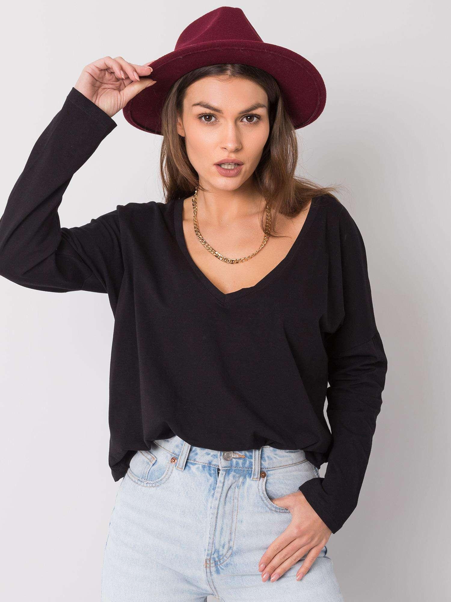 RUE PARIS Čierne tričko s dlhým rukávom S/M