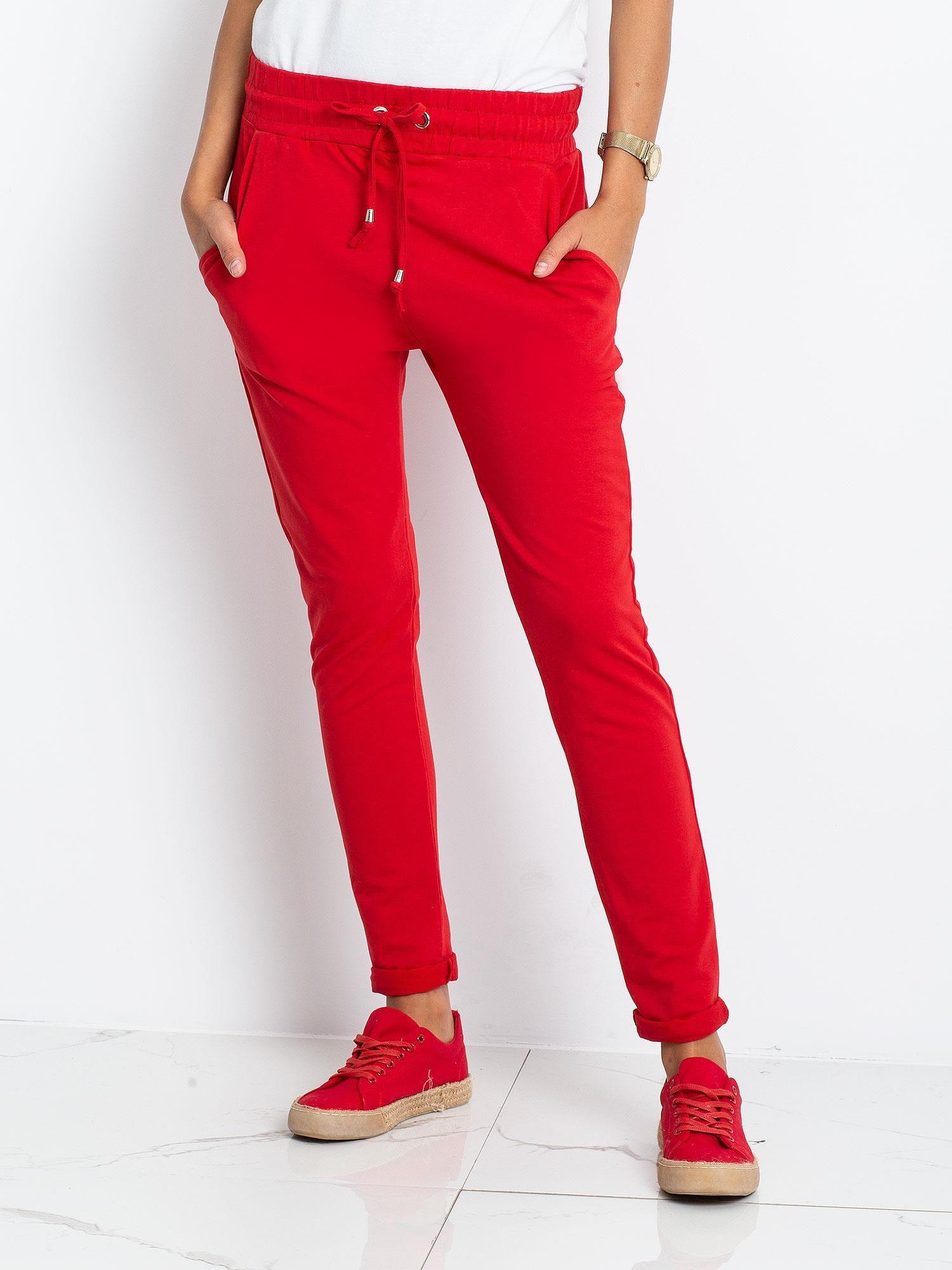 Dámske červené bavlnené tepláky XS