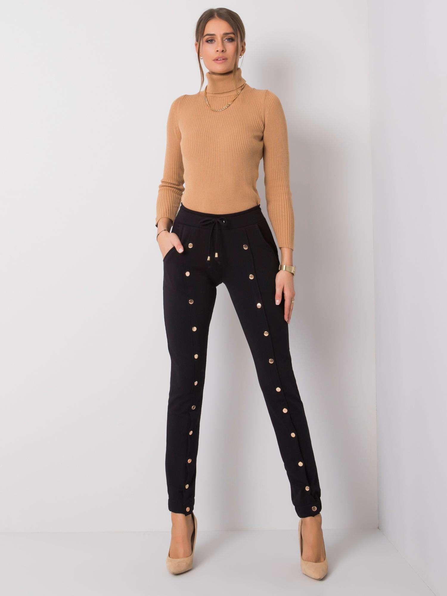 Dámske čierne bavlnené nohavice XL