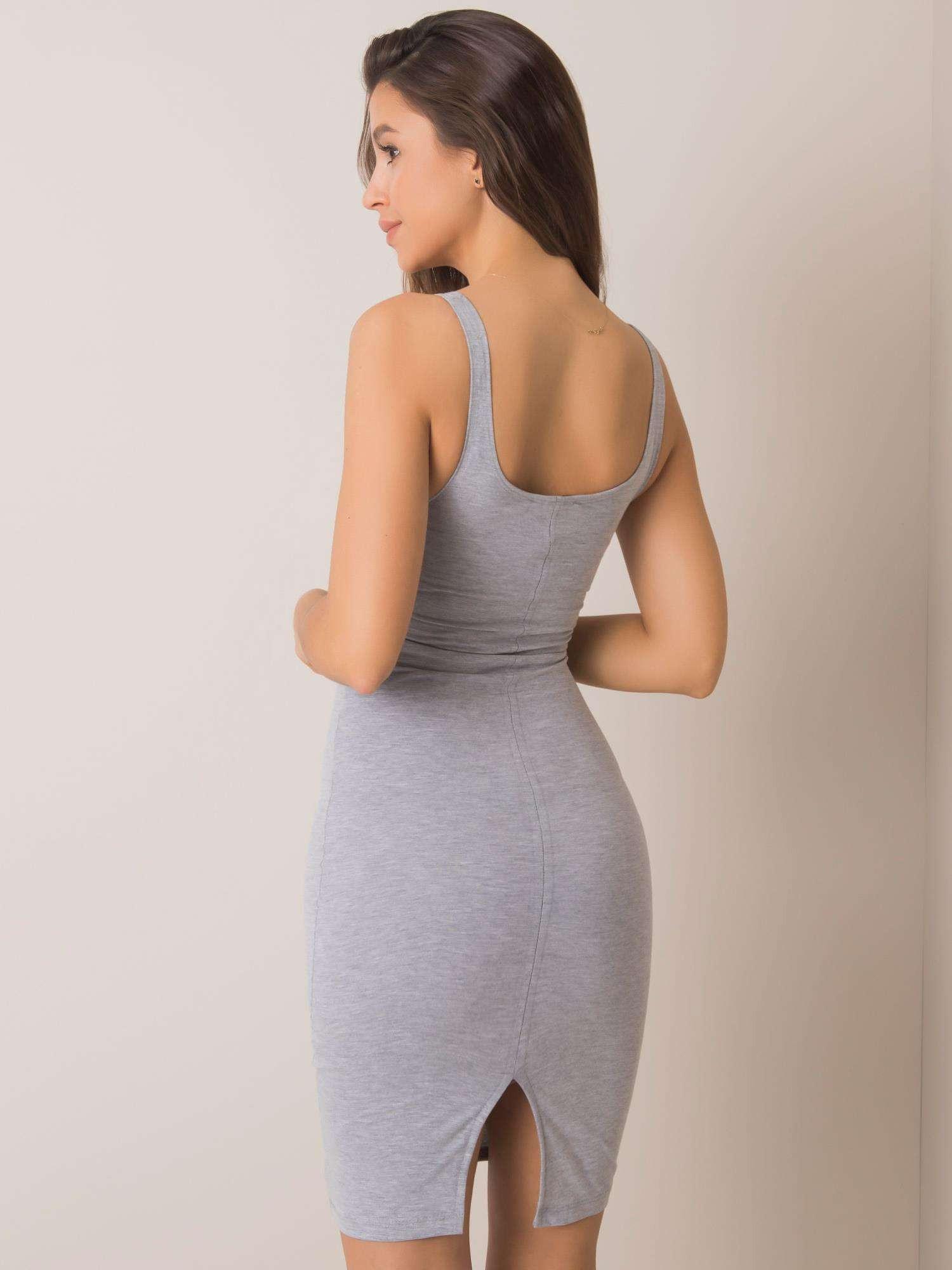 Základné šedé melanžovej šaty L