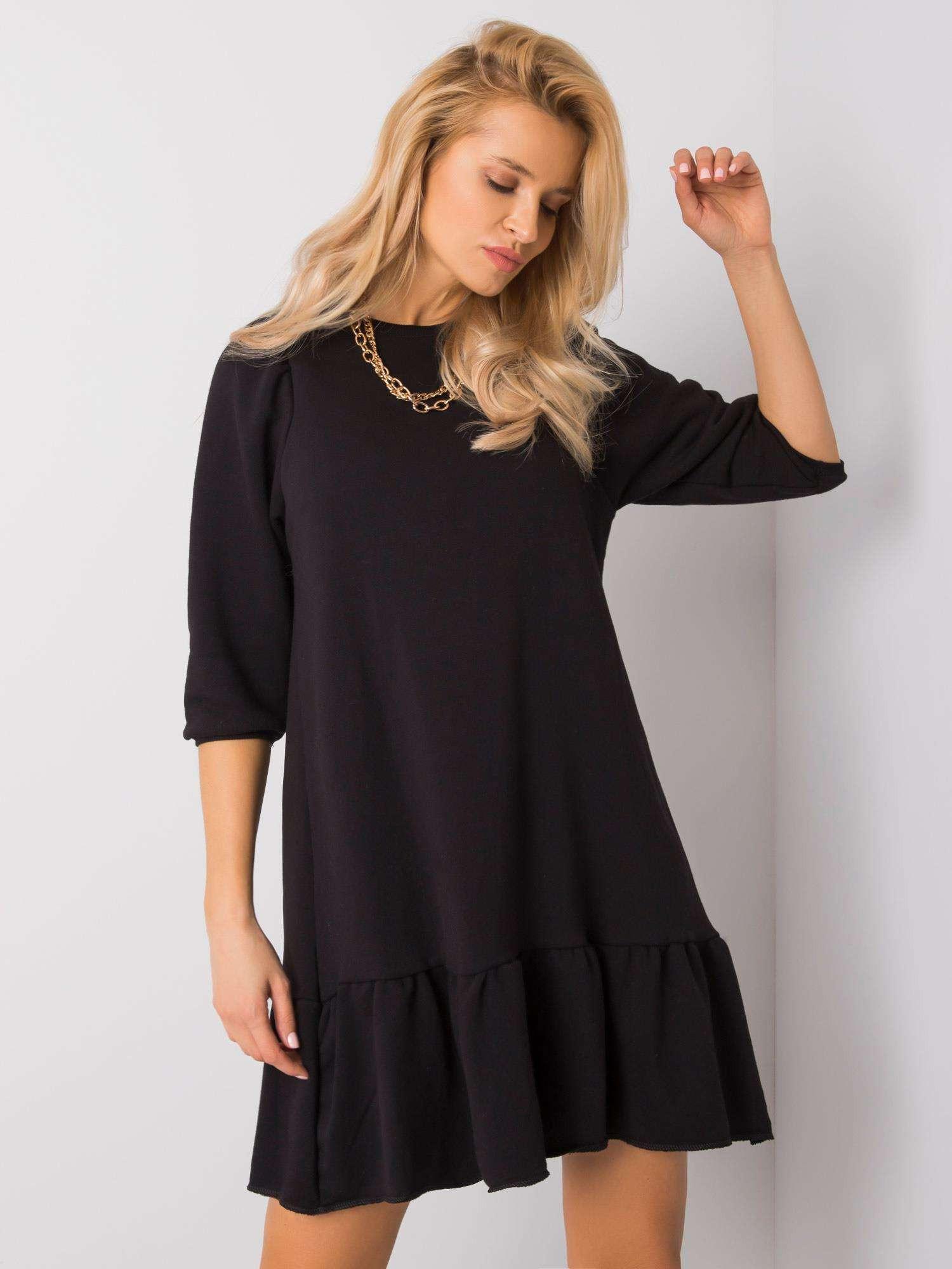 RUE PARIS Čierne šaty s volánikmi S