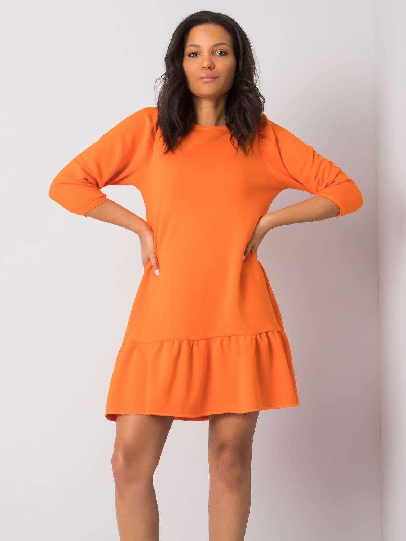 RUE PARIS Oranžové šaty s volánikmi L