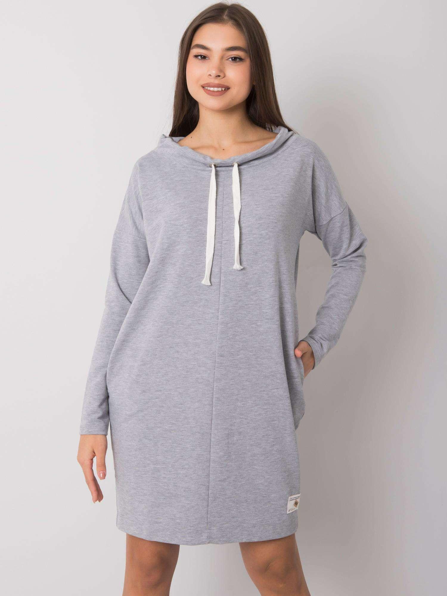 Šedé melanžovej bavlnené dámske šaty S/M