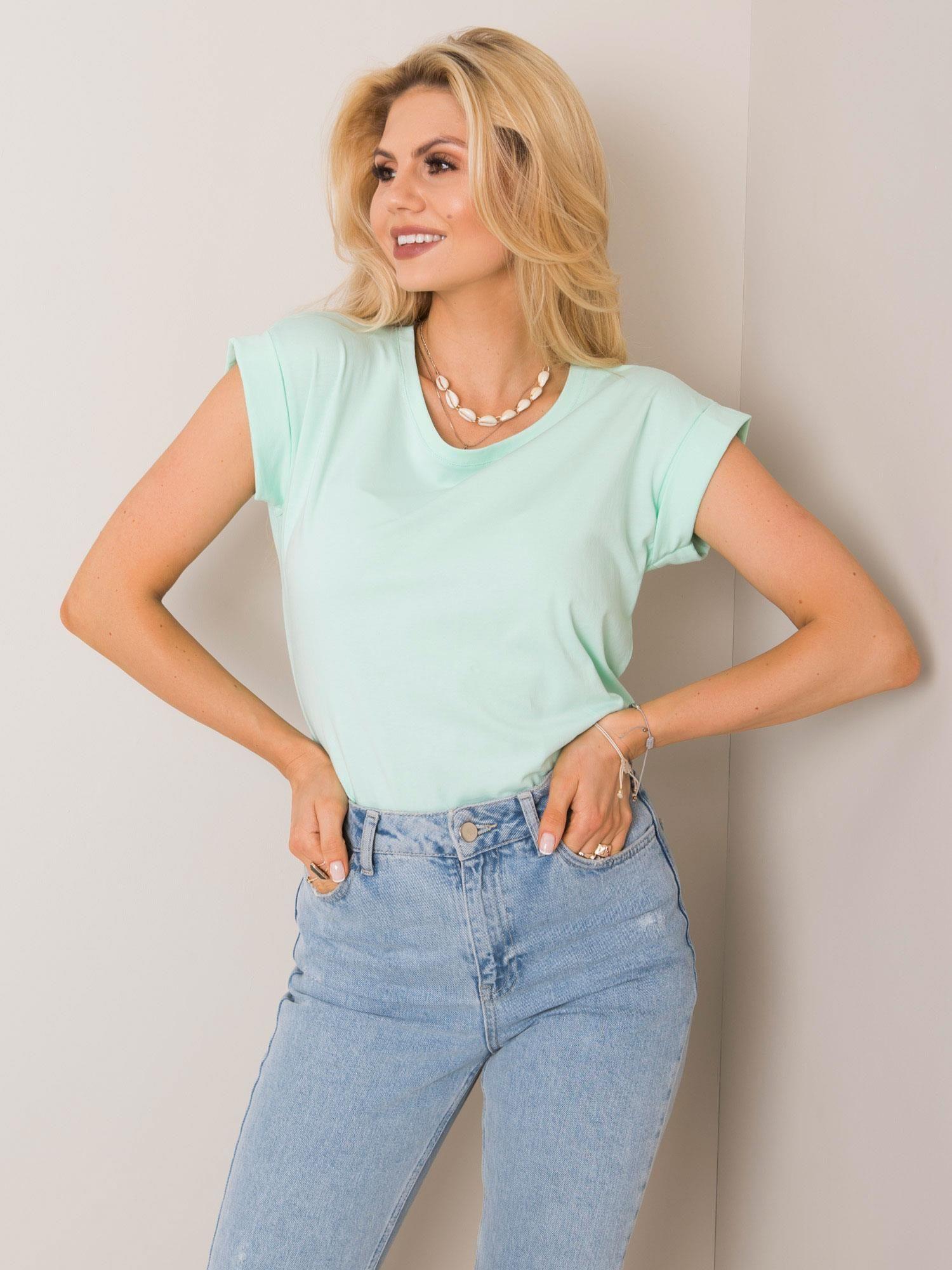 Obyčajné dámske tričko vo svetle mätovej farbe XS