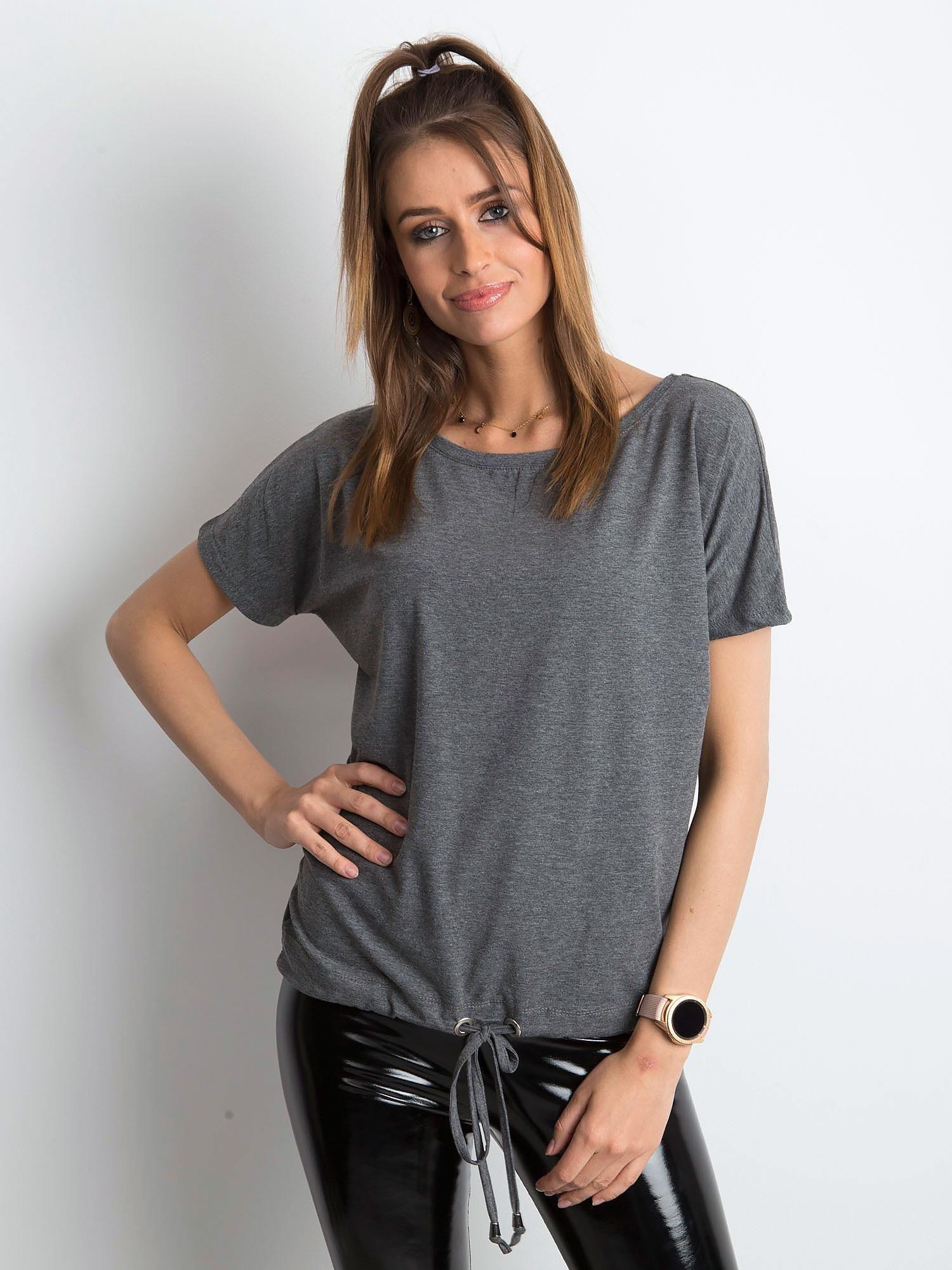 Dámske tmavo šedé melanžovej bavlnené tričko XL