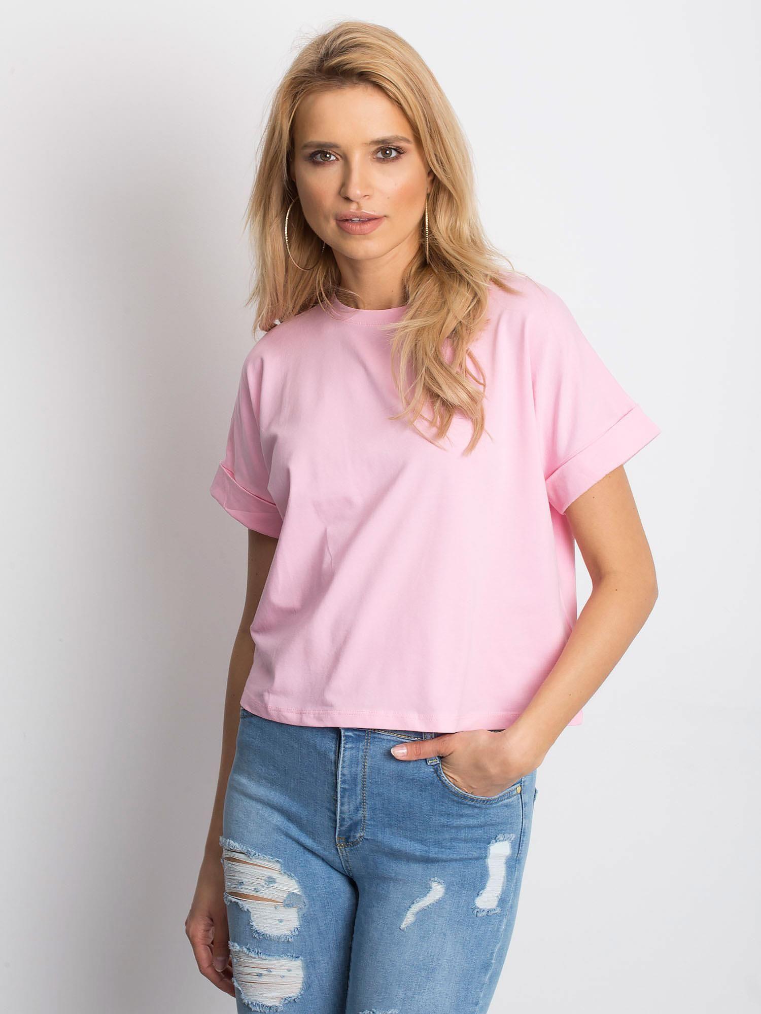 Dámske základné ružové bavlnené tričko L