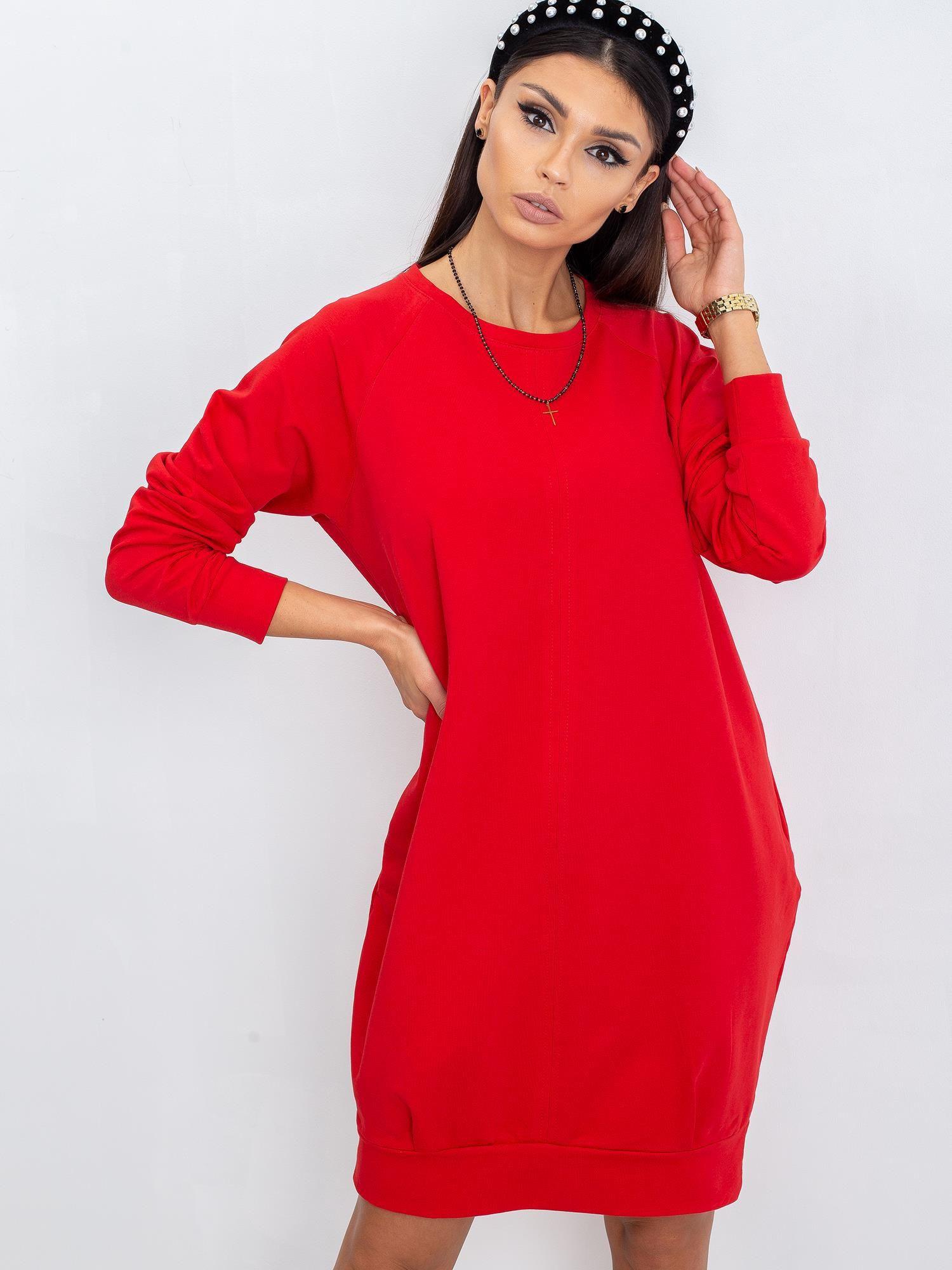 Červené bavlnené šaty L / XL