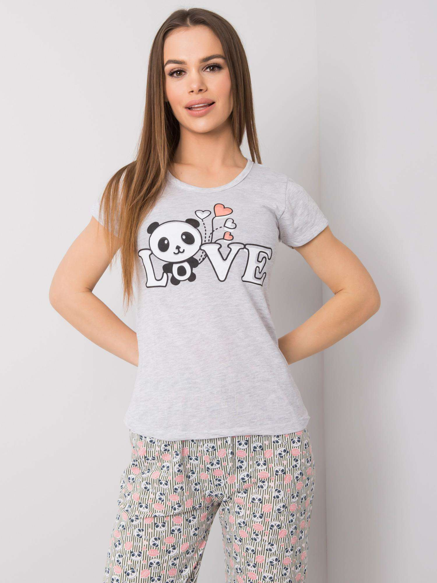 Dámske sivé bavlnené pyžamo L