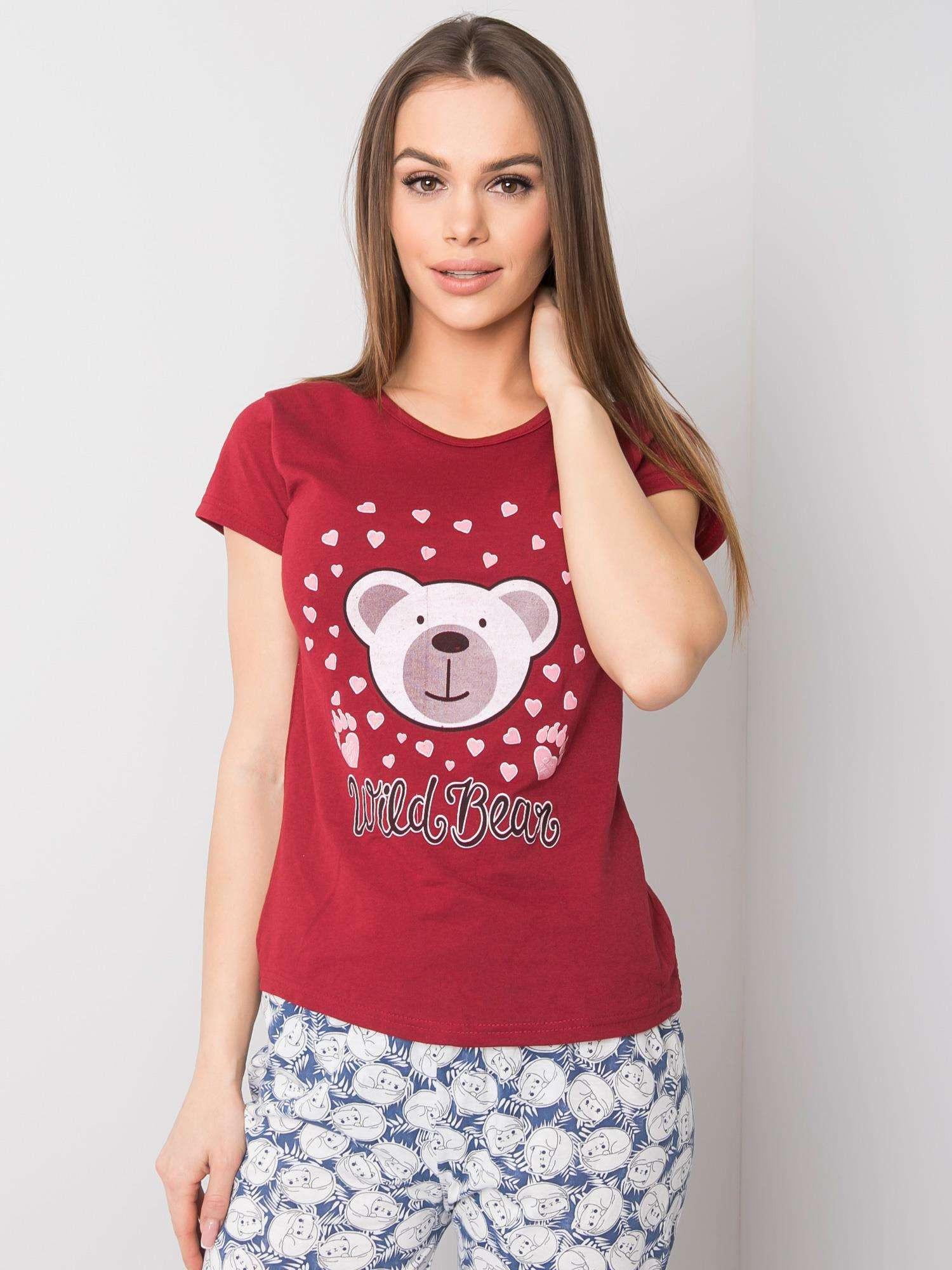 Maroon dámske bavlnené pyžamo XL
