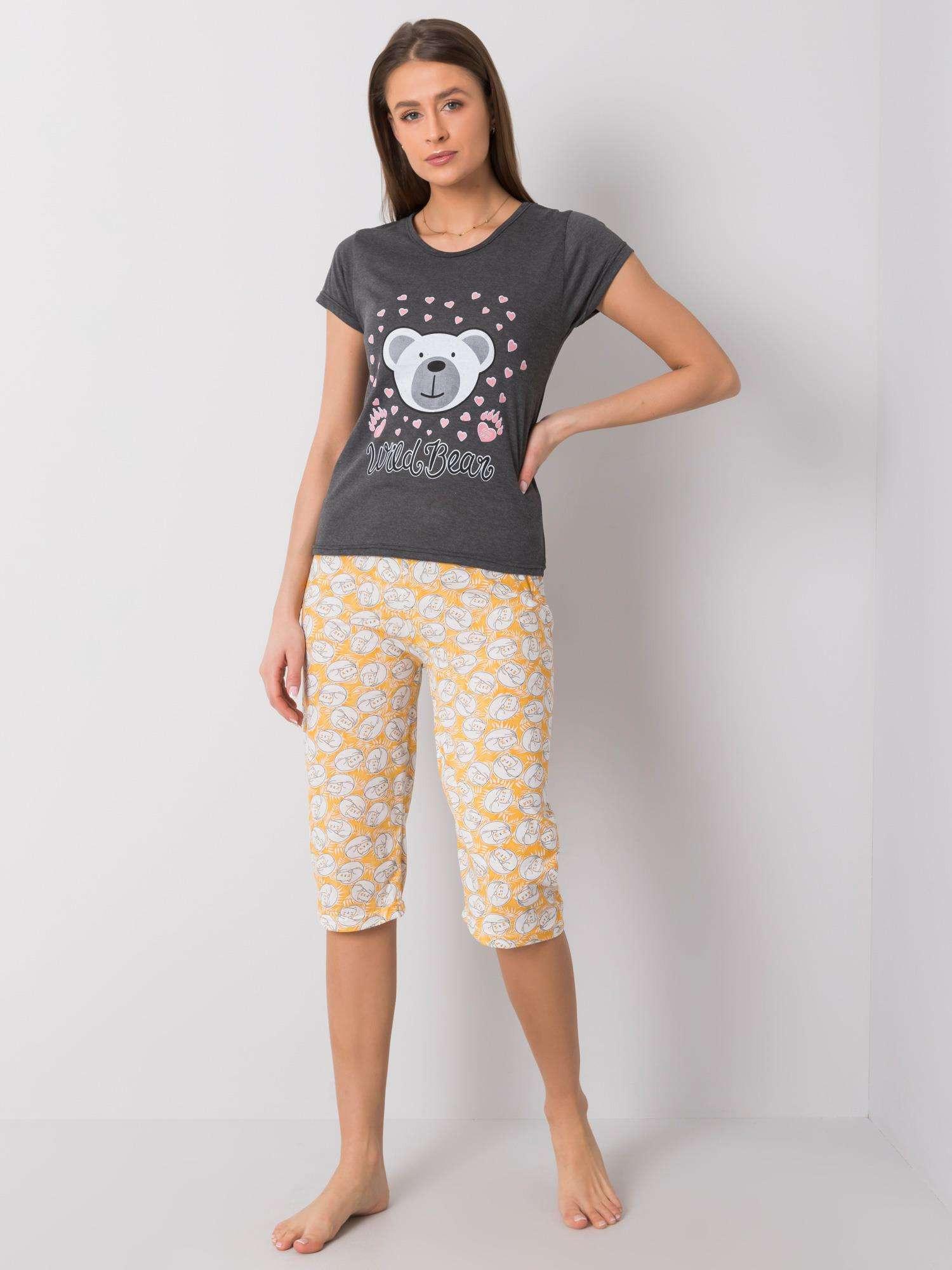 Grafitové bavlnené pyžamo s potlačou L