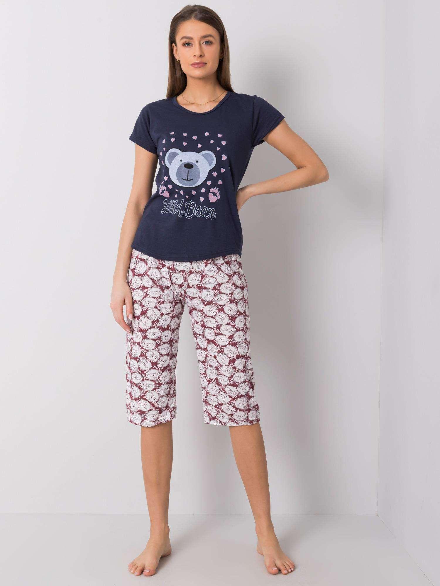 Tmavo modré bavlnené pyžamo s potlačou L