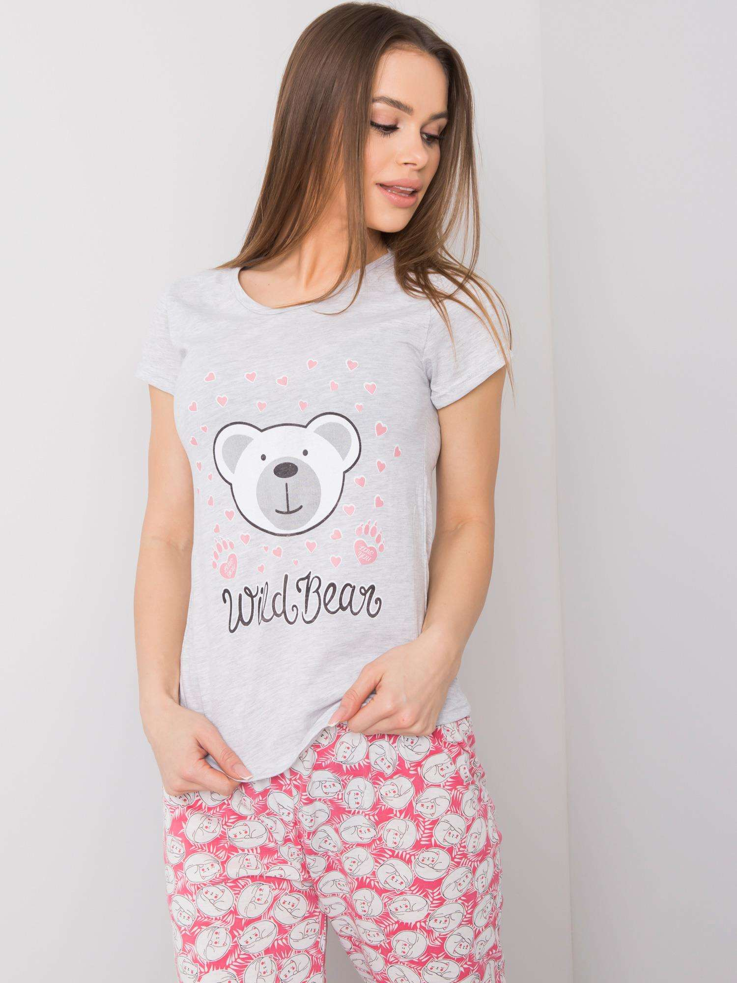 Šedé dámske bavlnené pyžamo XL