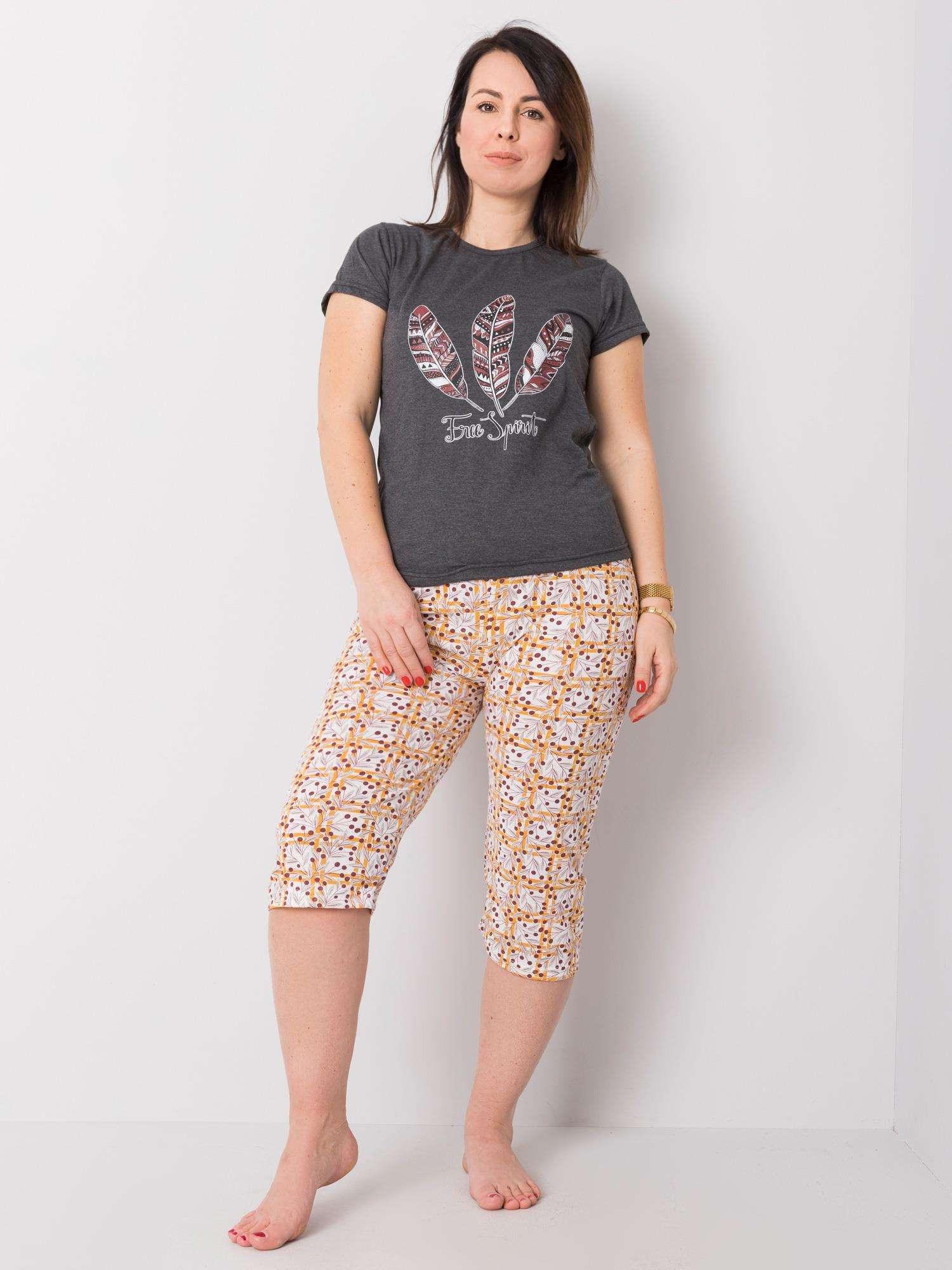 Grafitové dvojdielne bavlnené pyžamo L