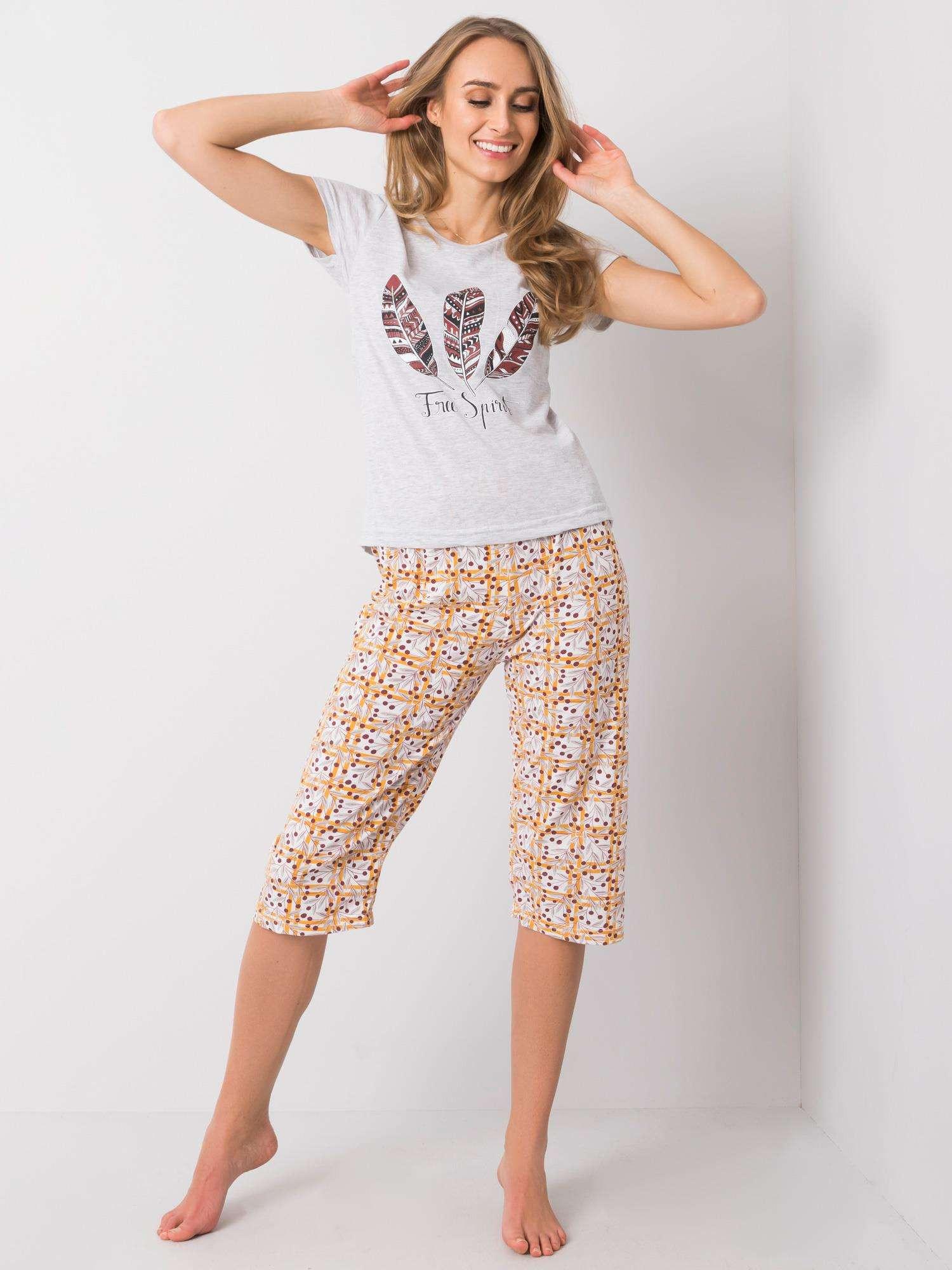 Šedé dvojdielne bavlnené pyžamo L
