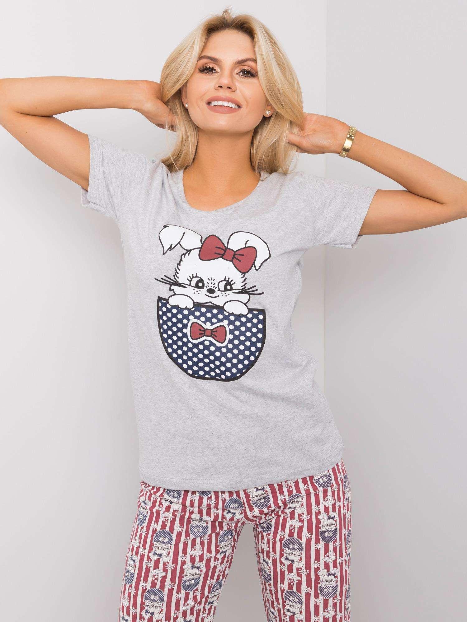 Šedé dvojdielne dámske pyžamo 2XL