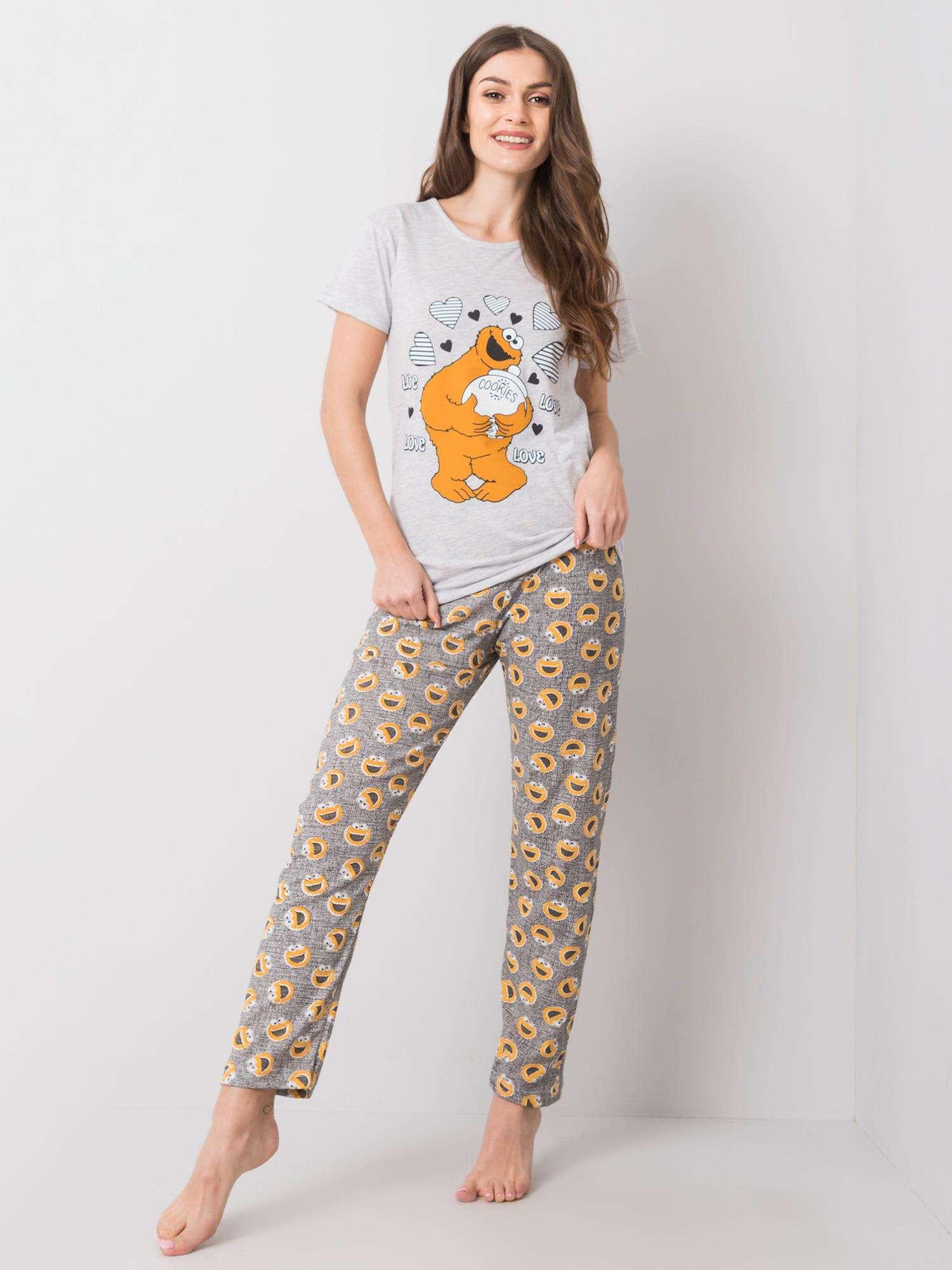 Šedé dámske dvojdielne pyžamo XL
