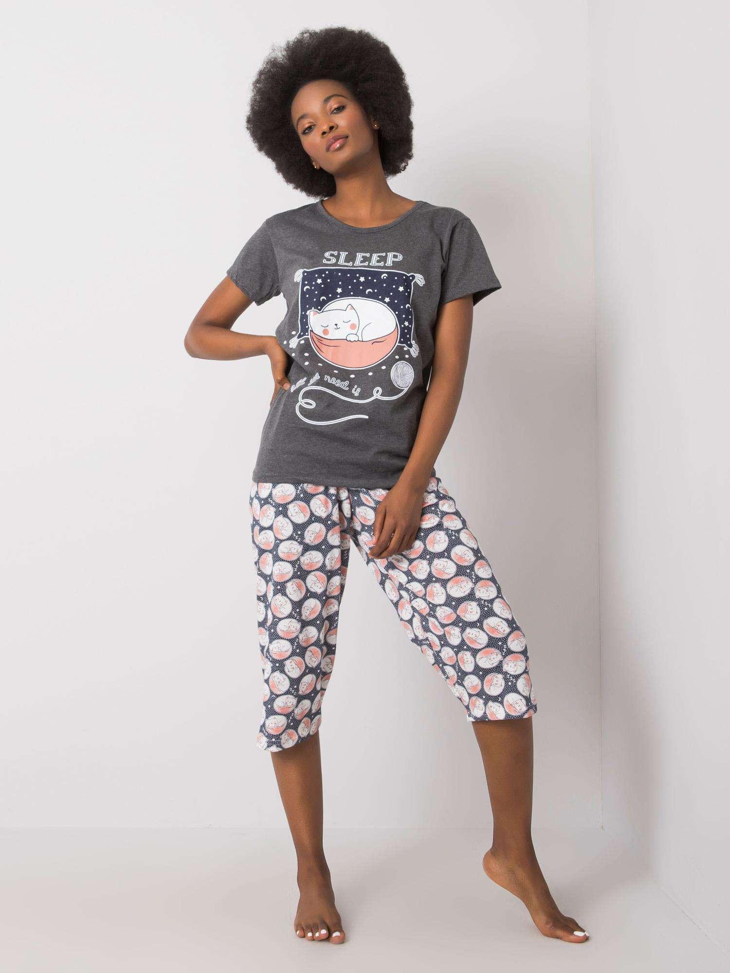 Grafitové dámske pyžamo XL