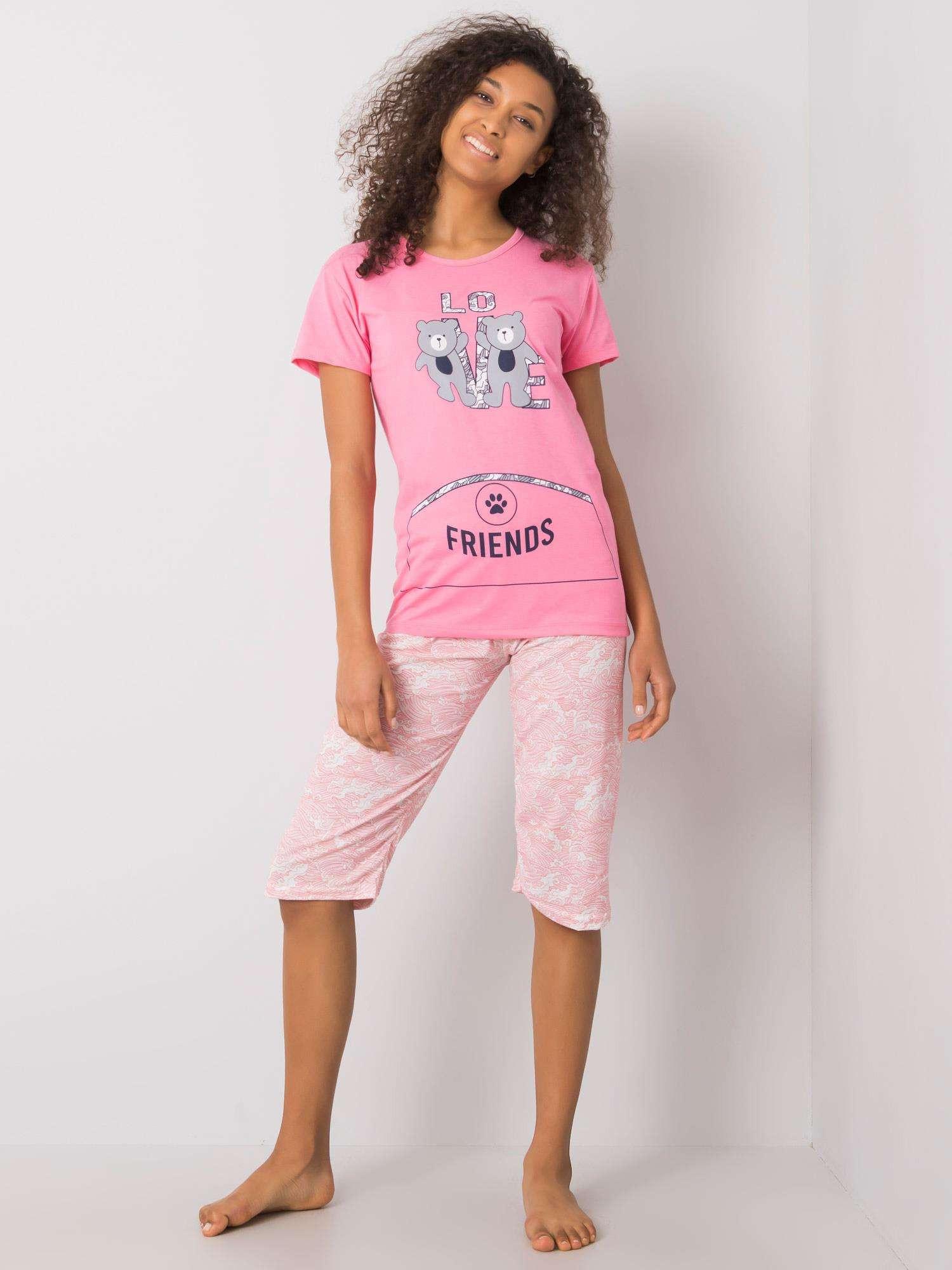 Dámske ružové pyžamo s potlačou XL