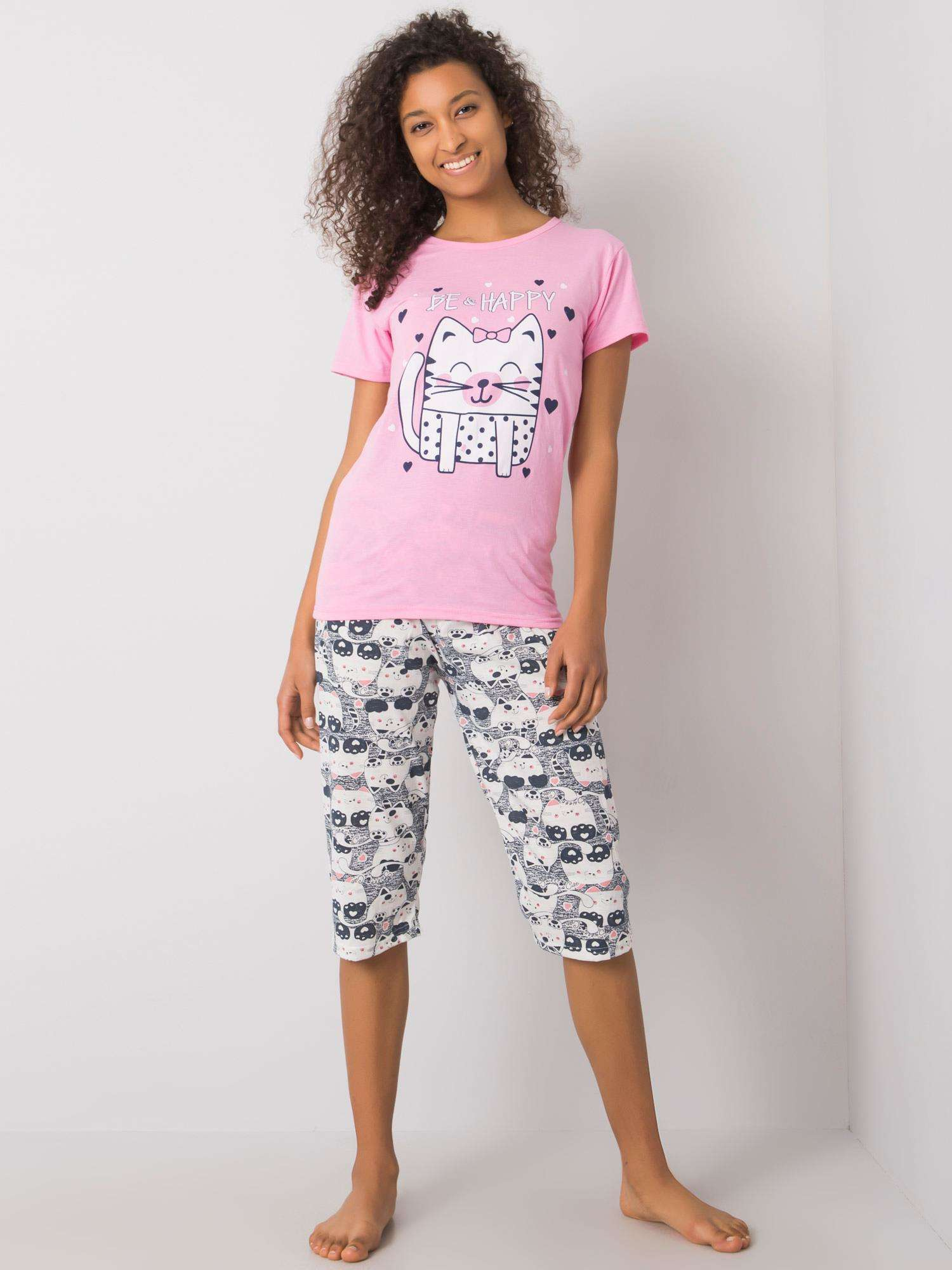 Ružové dámske pyžamo s potlačou XL