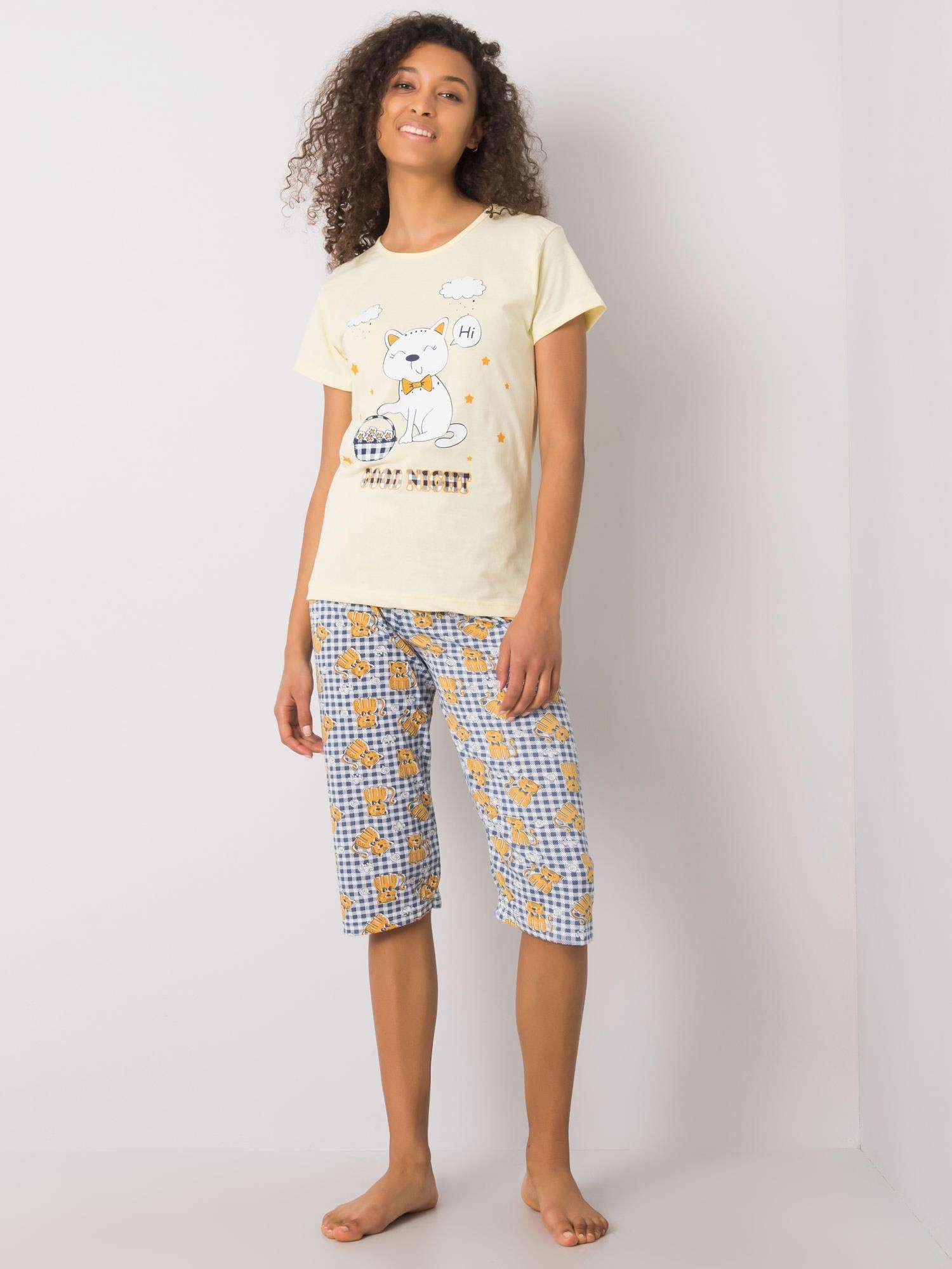 Dámske žlté vzorované pyžamo XL