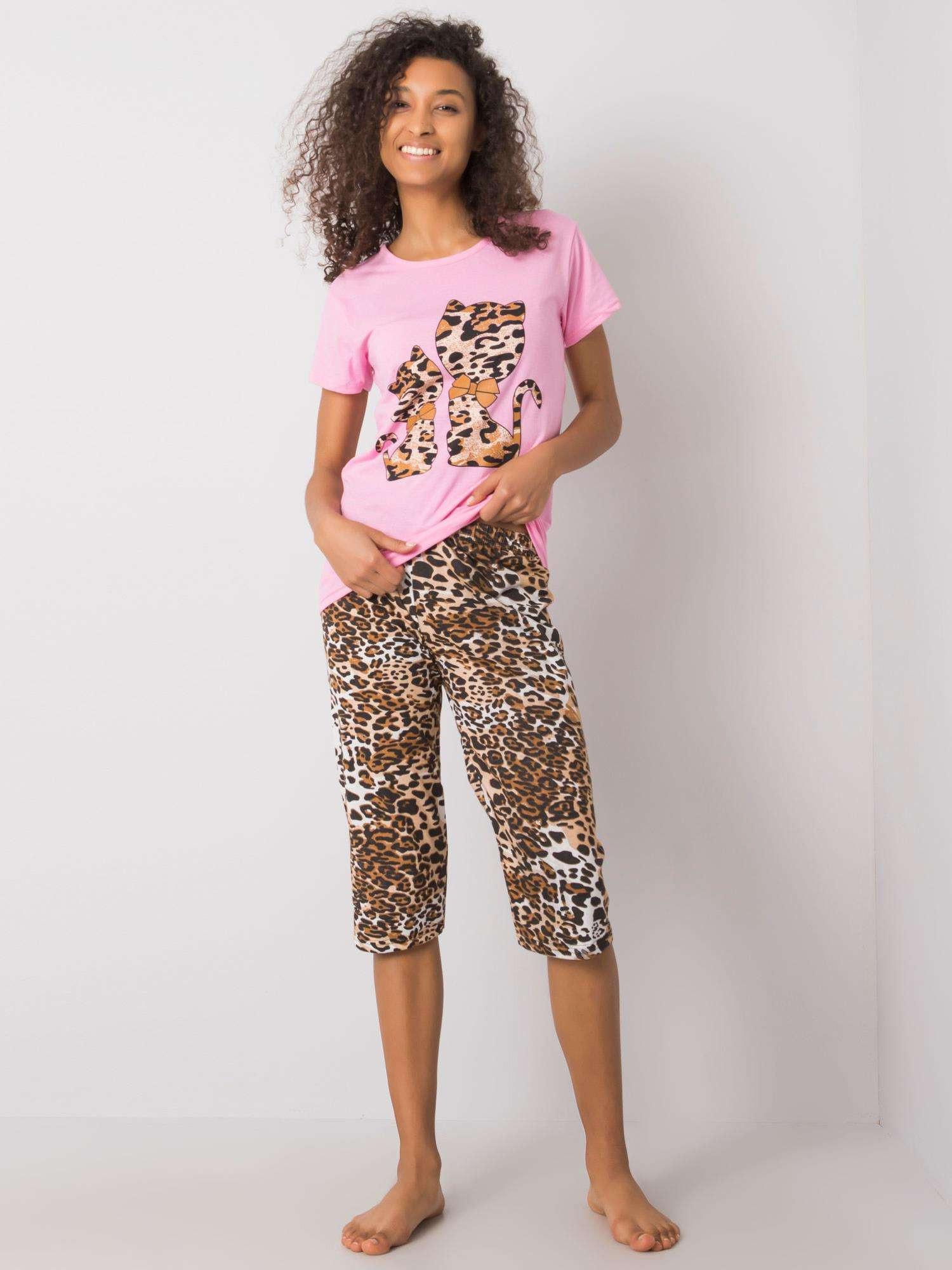 Ružové pyžamo s farebnou potlačou XL