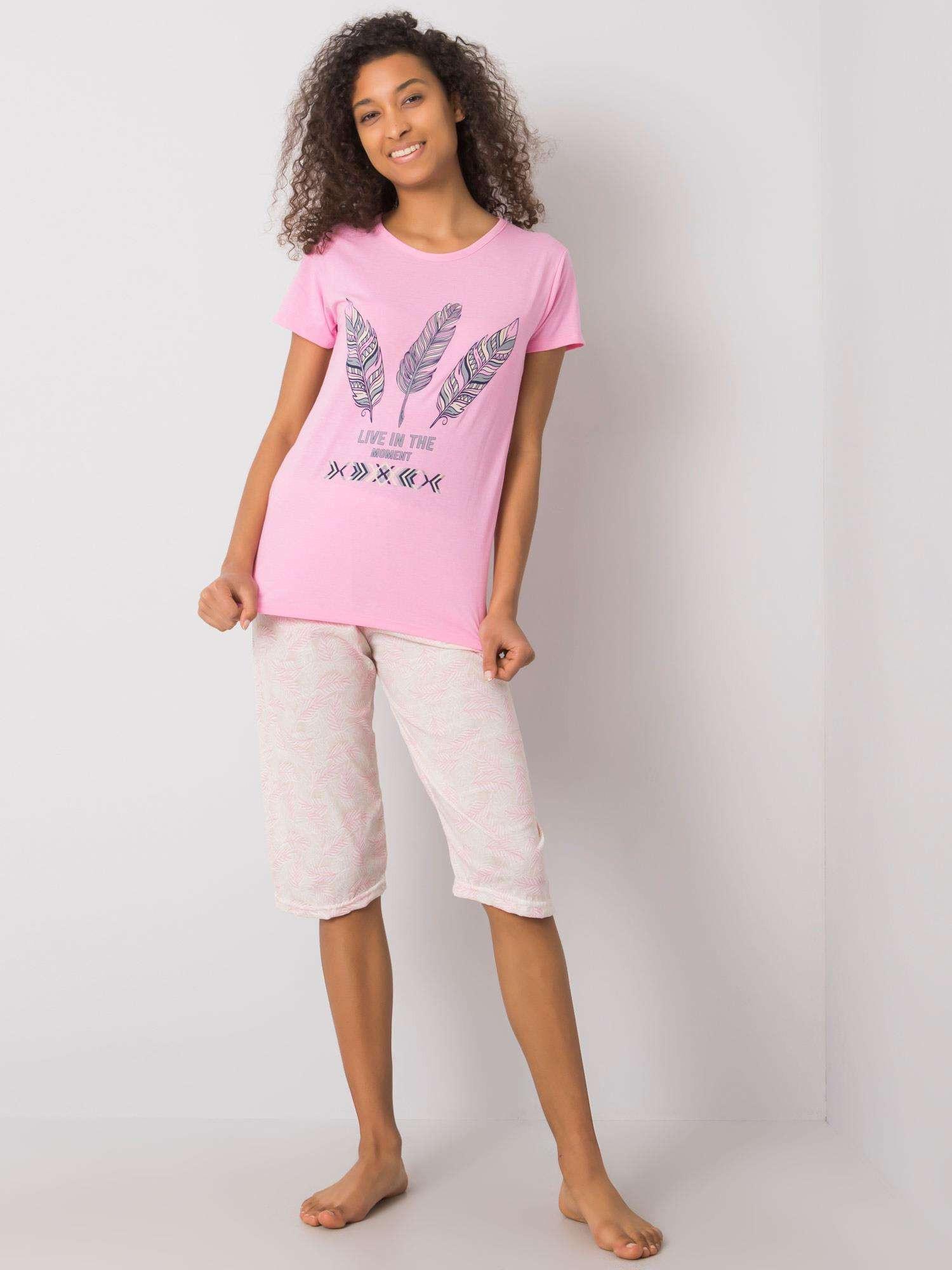 Svetlo ružové pyžamo sa vzormi XL