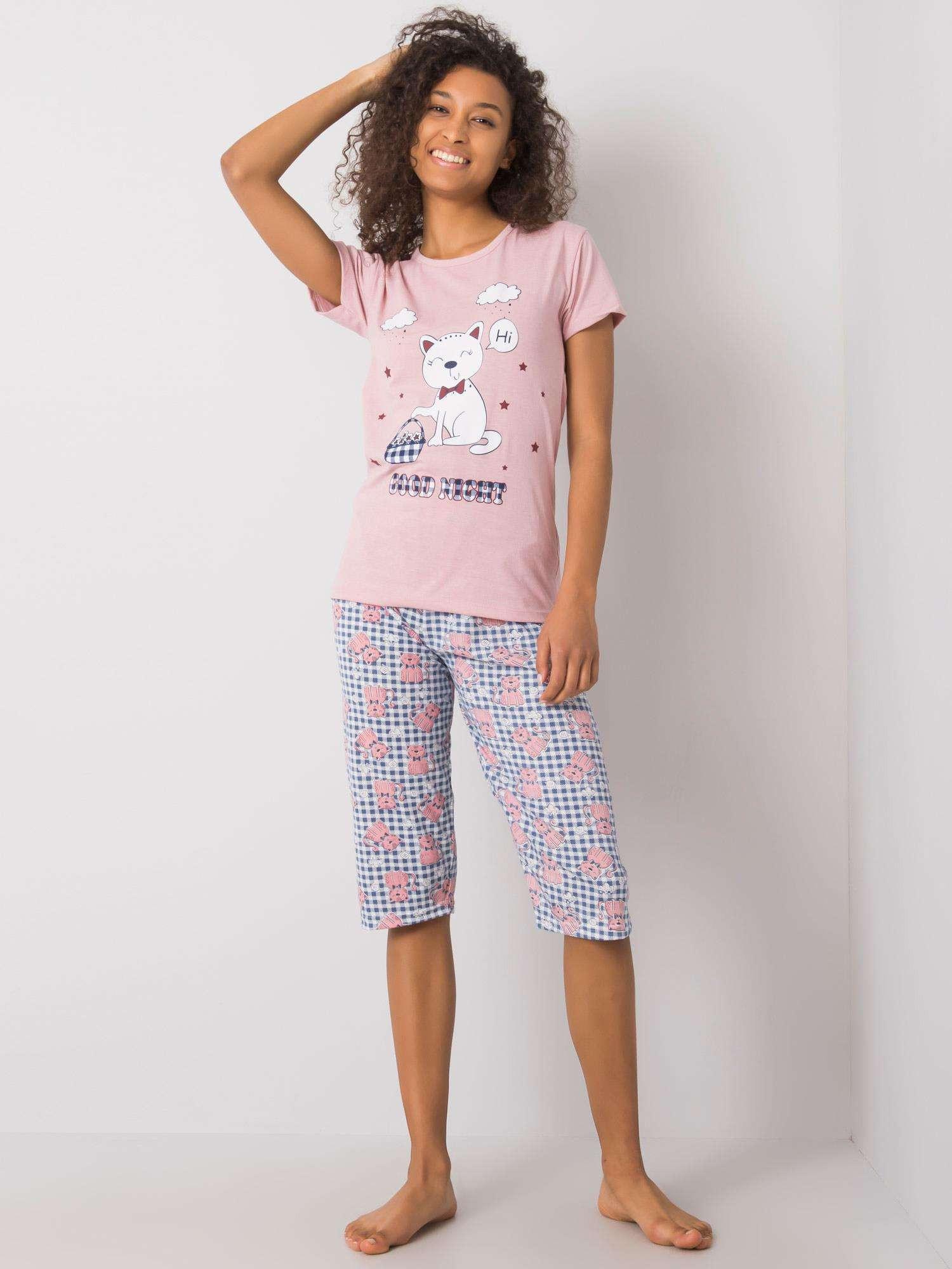 Púdrovo ružové pyžamo s potlačou XL