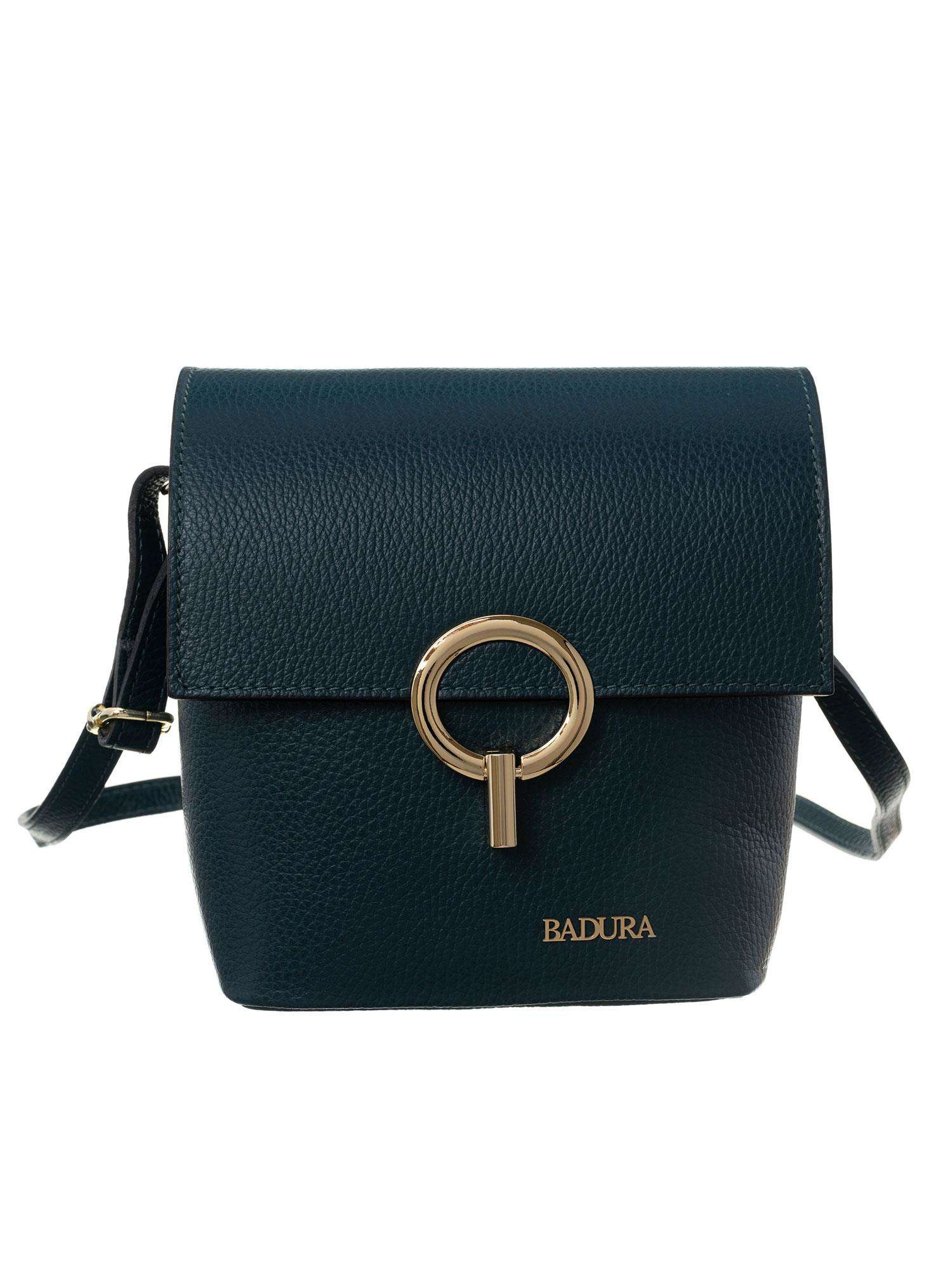 Badura Tmavo zelená kožená taška univerzální