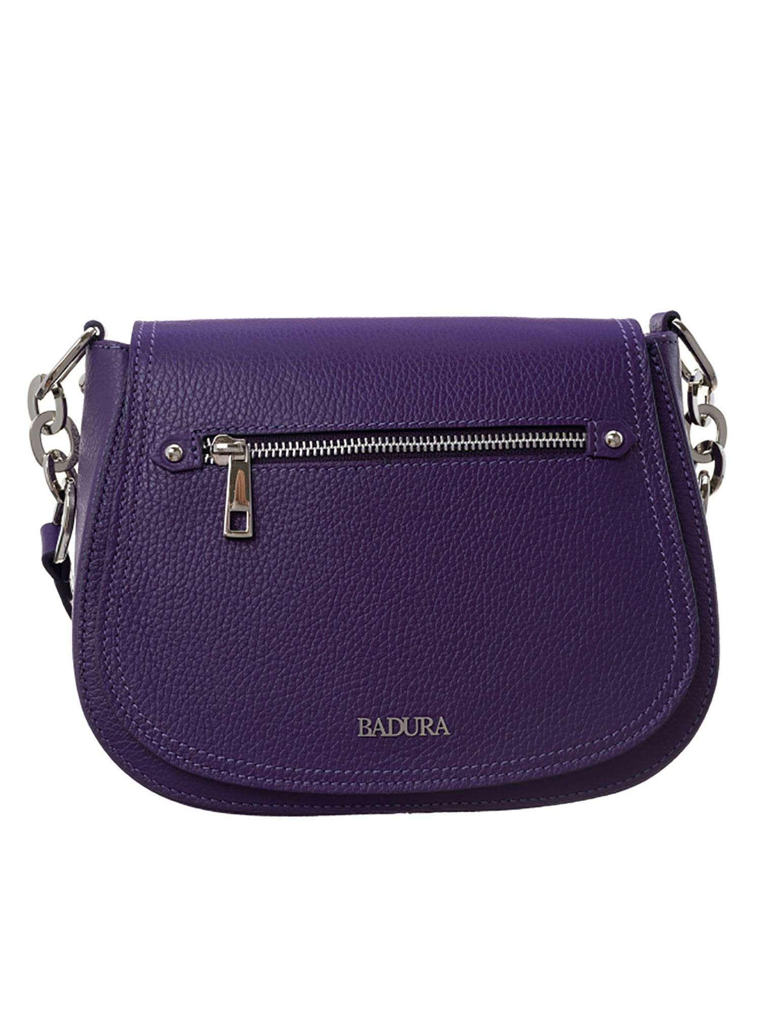 Dámska fialová kožená kabelka BADURA ONE SIZE
