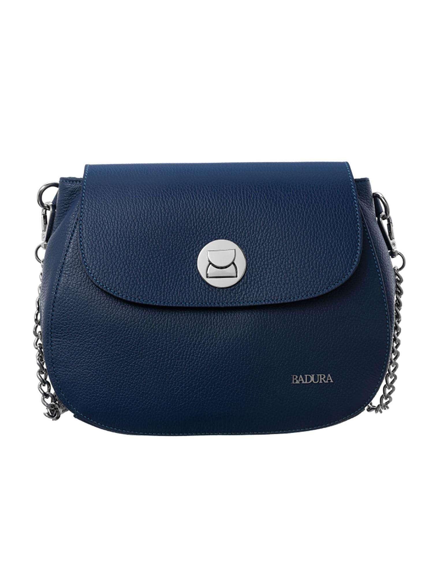 Badura Tmavo modrá kožená taška one size