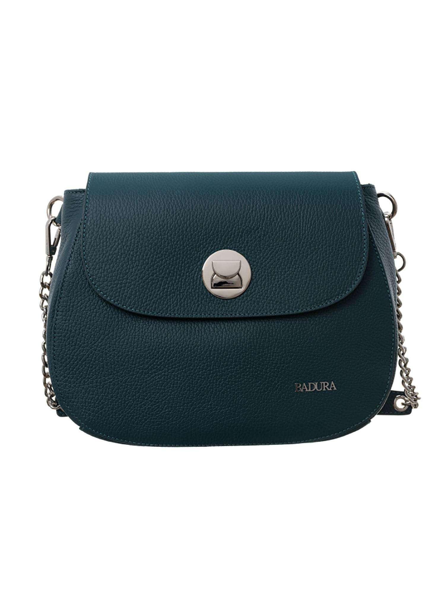 Badura Tmavo zelená kožená taška one size